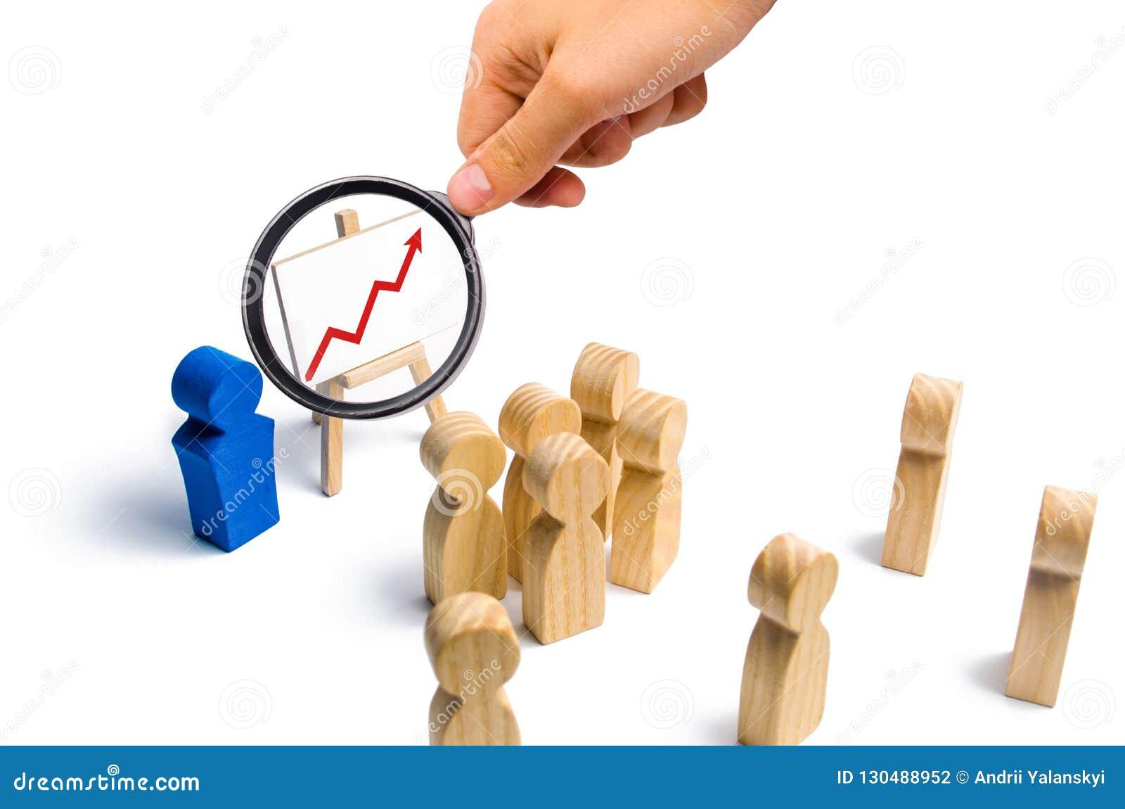 O líder está estando perto do gráfico com um vermelho acima da seta fala