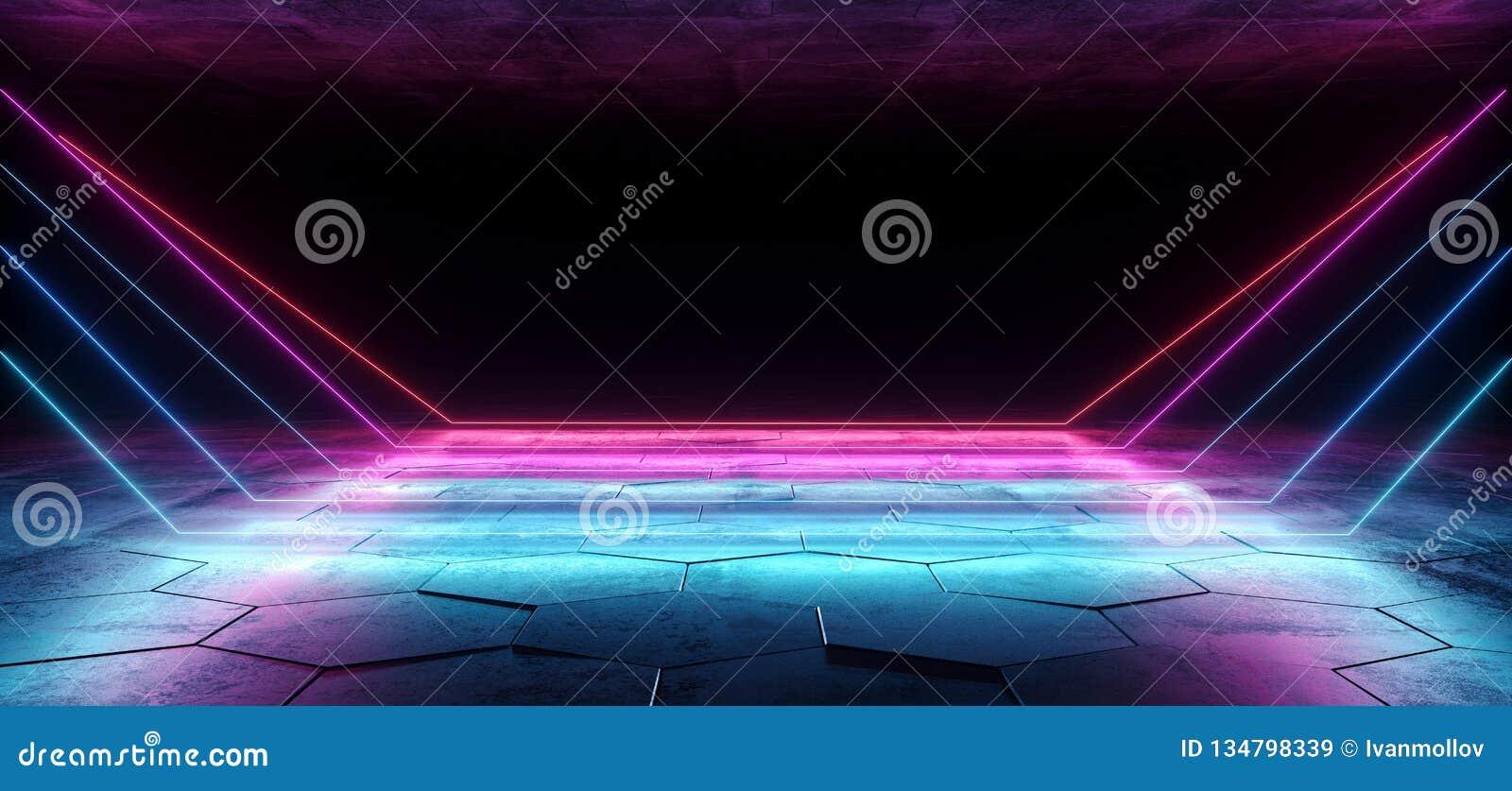 O laser de néon abstrato de Sci Fi conduziu linhas futuristas de incandescência do roxo azul cor-de-rosa na sala sextavada concre