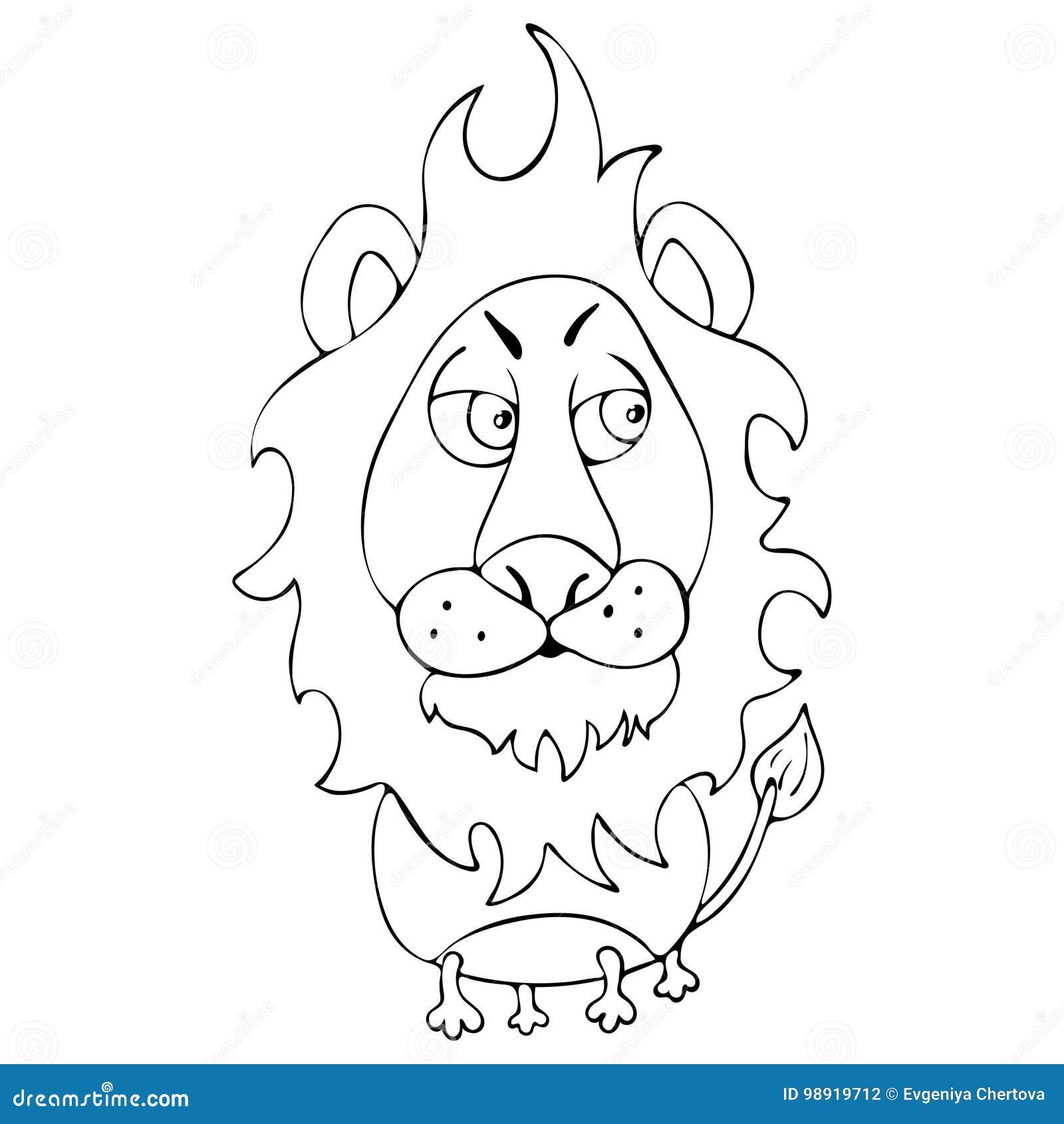 o leão engraçado dos desenhos animados para o livro para colorir