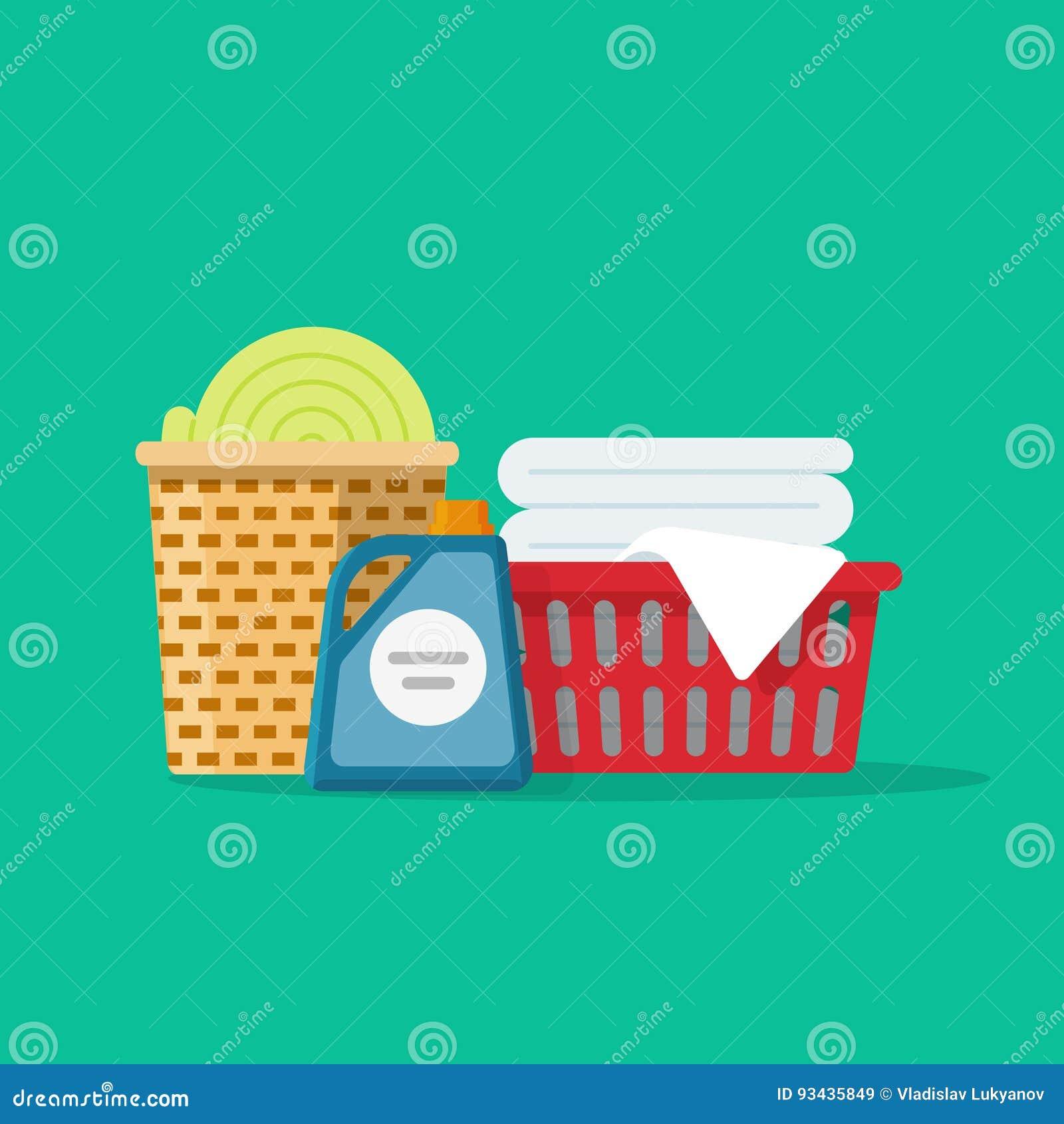 O linho ou a roupa da lavanderia nas cestas vector desenhos animados da ilustração, a limpeza ou o conceito liso do serviço da la