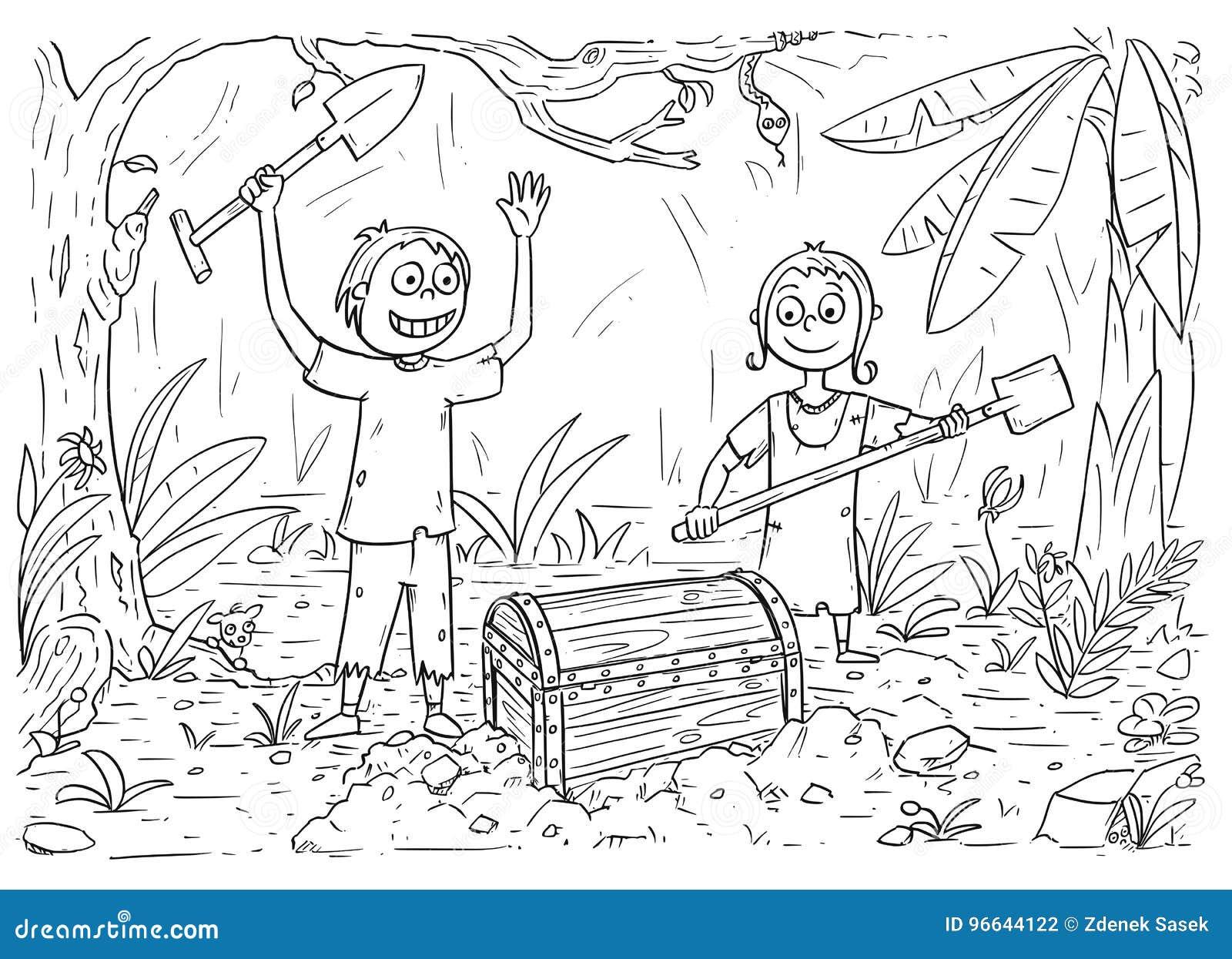 O Livro Para Colorir Dos Desenhos Animados Com Menino E Menina
