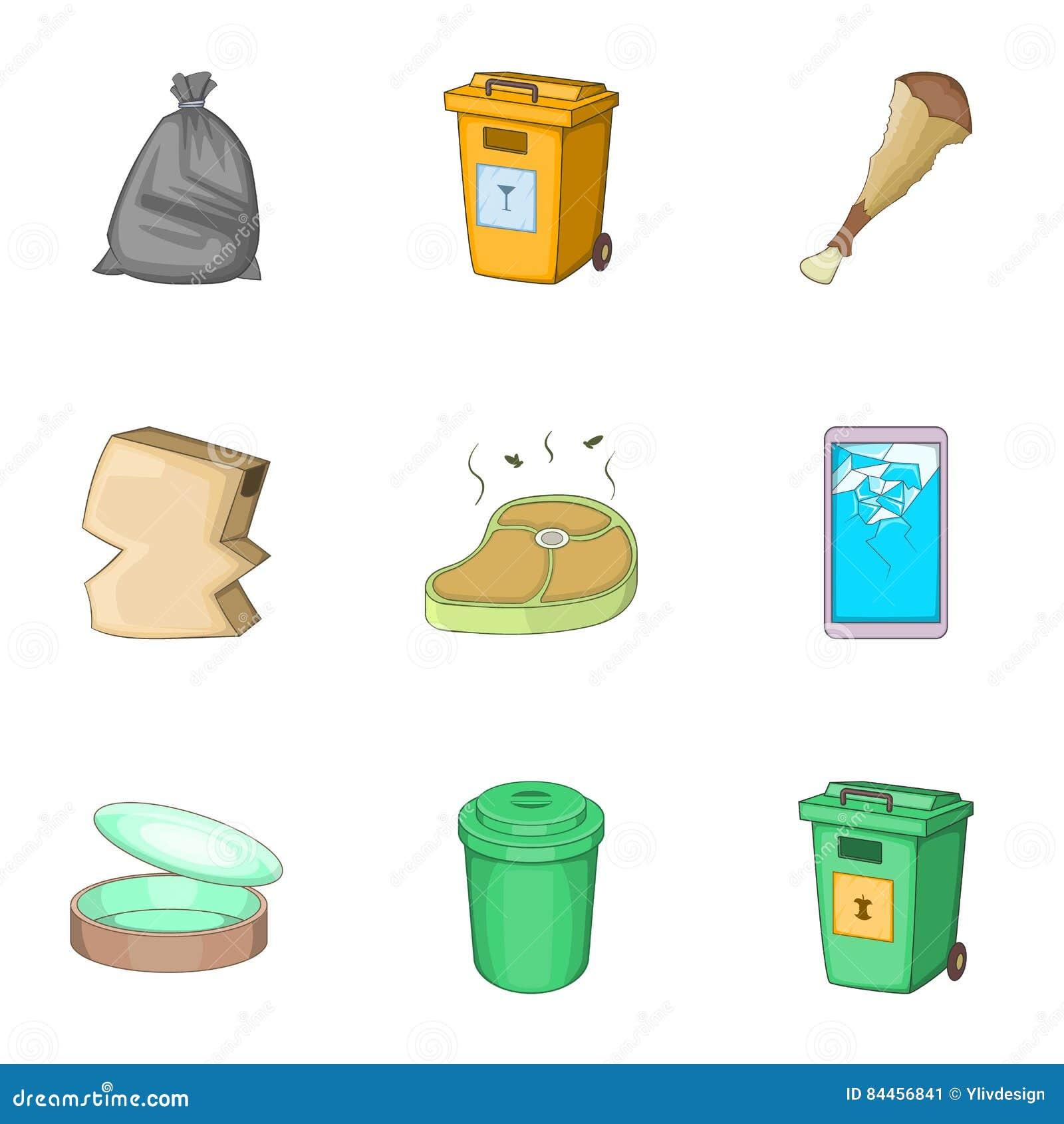 O Lixo Para Reciclar Icones Ajustou Se Estilo Dos Desenhos Animados