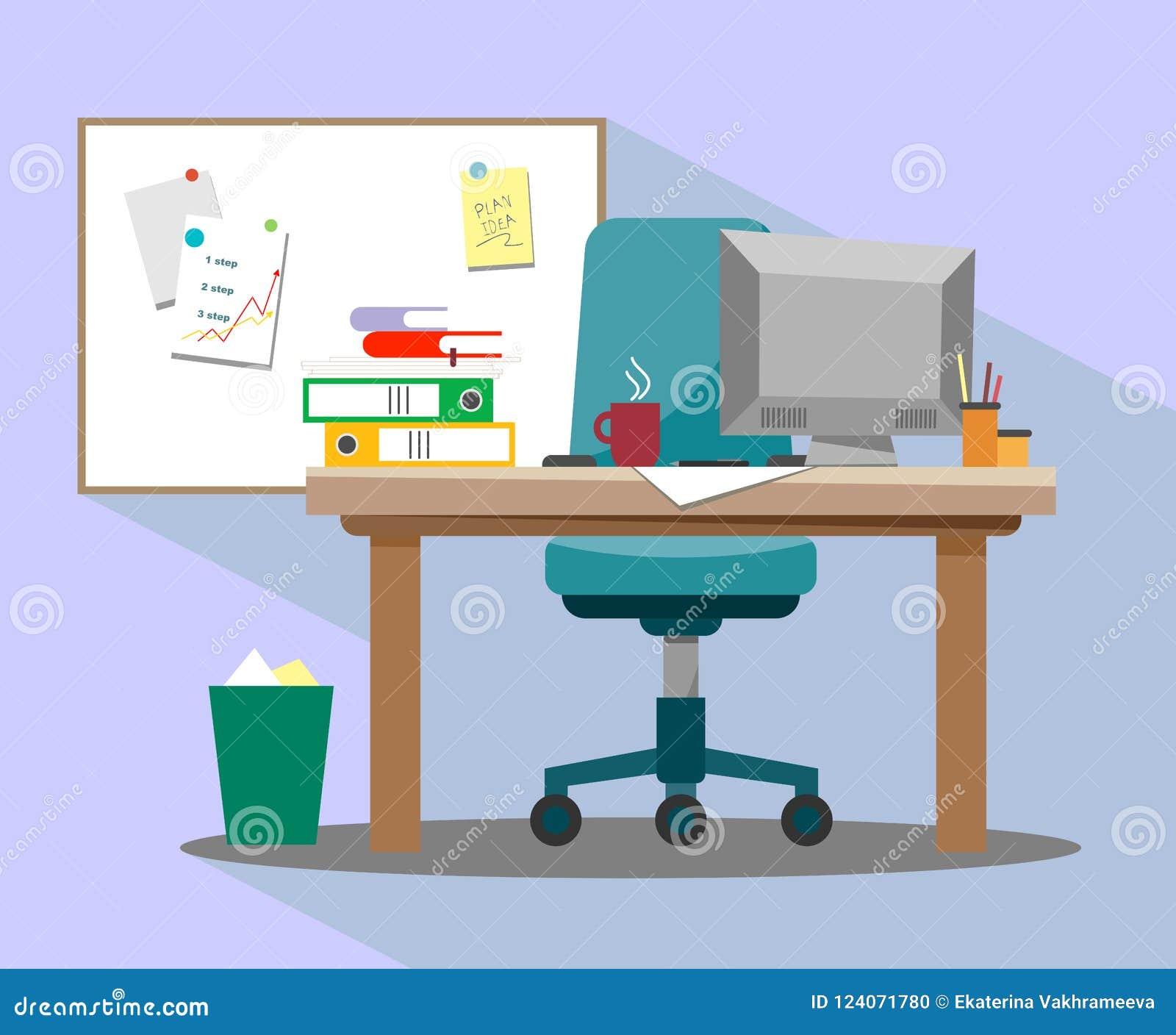 O local de trabalho no escritório com uma poltrona, um computador e um marcador magnético embarcam para ideias e apresentações de
