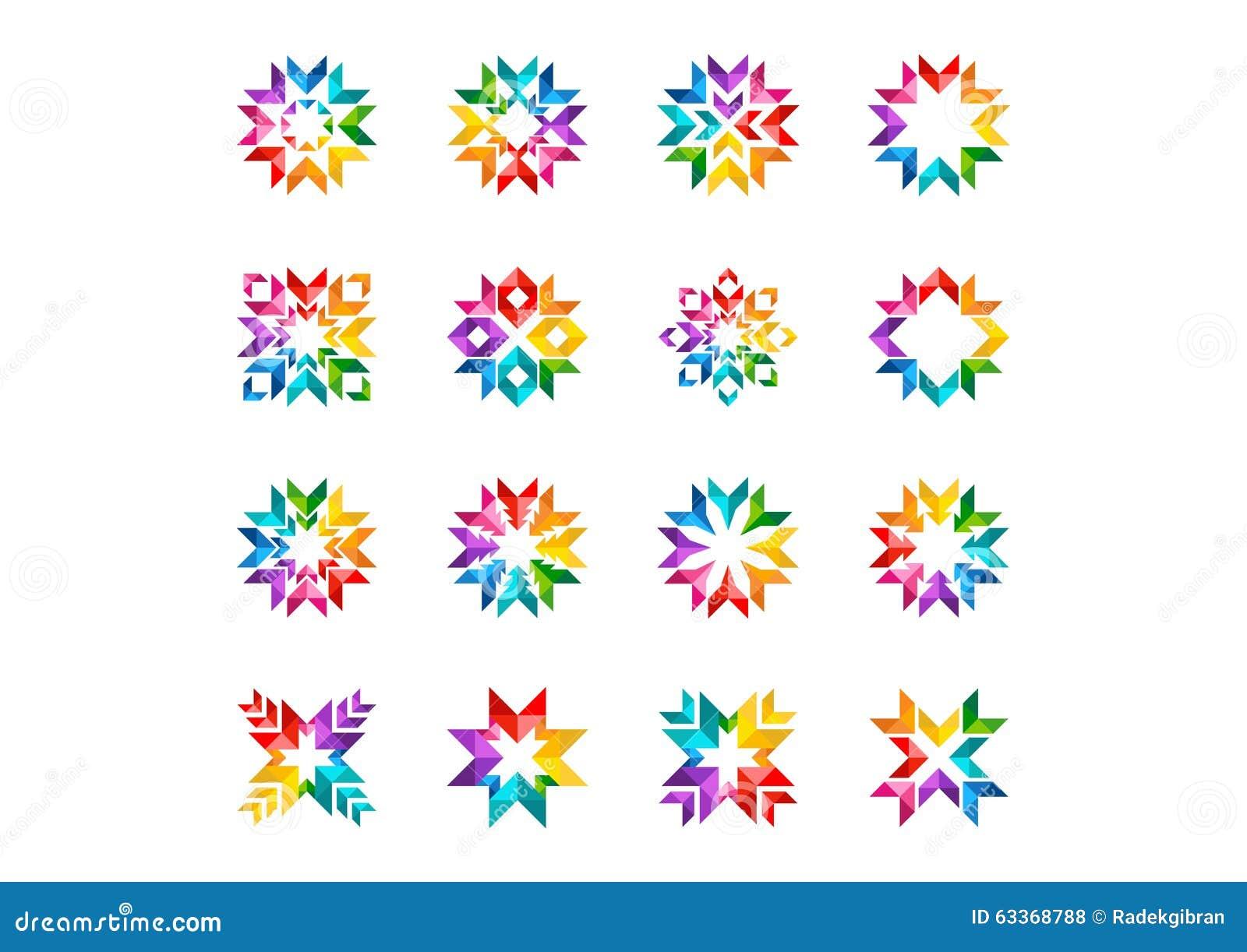 O logotipo moderno abstrato do círculo, o arco-íris, as setas, os elementos, floral, grupo de estrelas redondas e vetor do ícone