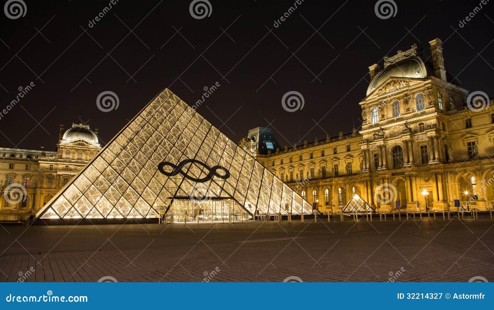 O Louvre de Paris em França na noite