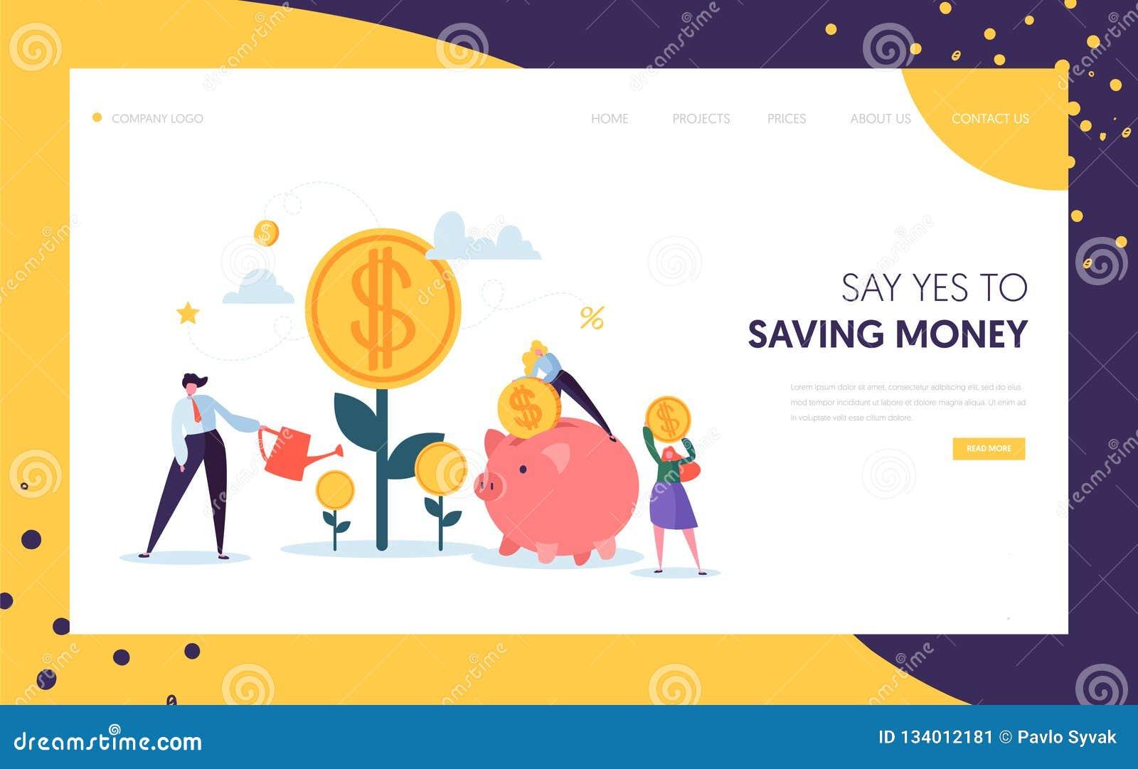 O lucro do dinheiro cresce a página da aterrissagem do negócio Conceito financeiro do investimento Povos que aumentam a árvore pr