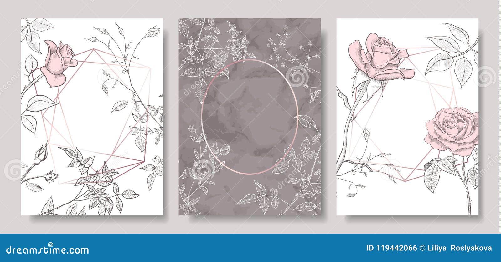 O luxo carda a coleção com textura de mármore, as flores desenhados à mão e forma geométrica Fundo na moda do vetor Grupo moderno