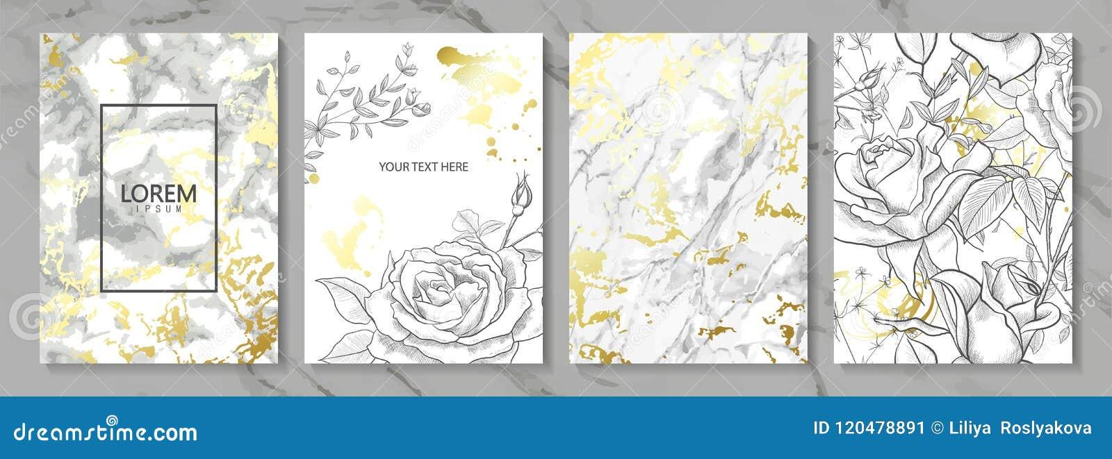 O luxo carda a coleção com textura dourada de mármore e as flores desenhados à mão Fundo na moda do vetor Grupo moderno de