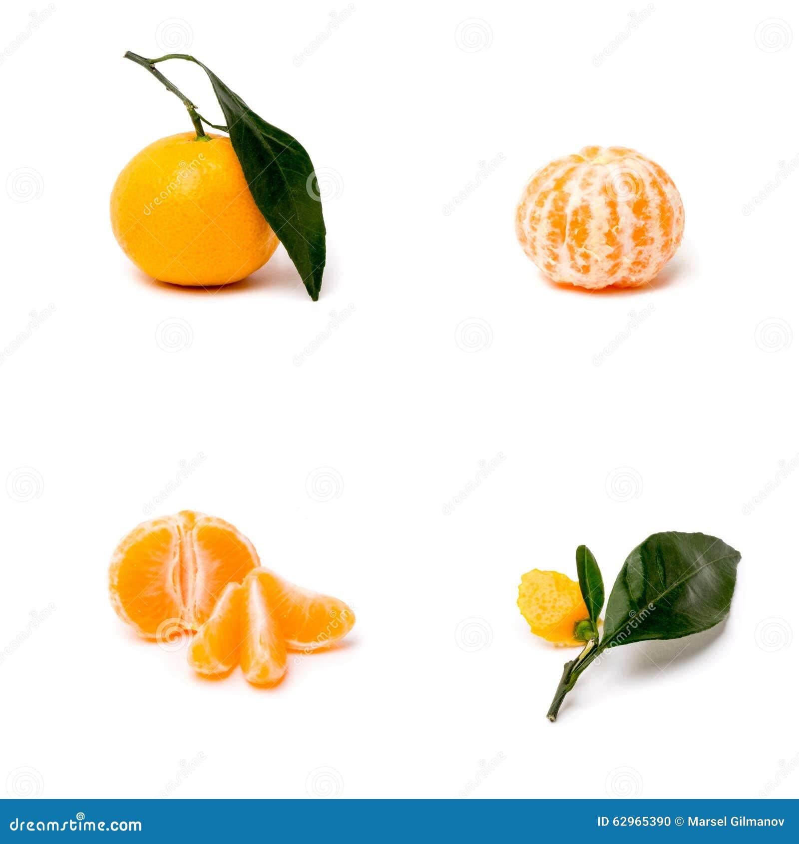 O mandarino em um fundo branco