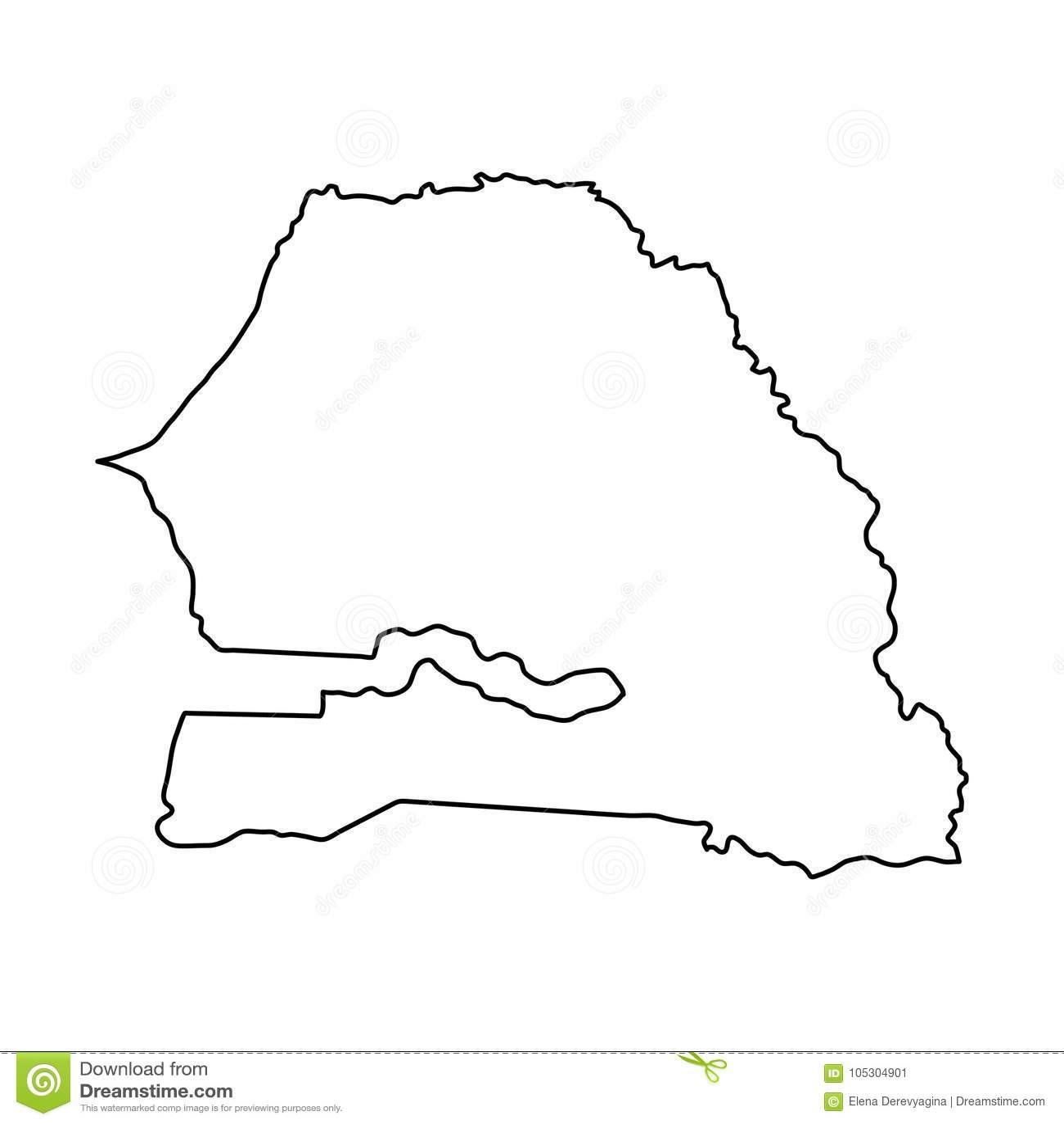 O mapa de Senegal do contorno preto curva-se no fundo branco do vecto