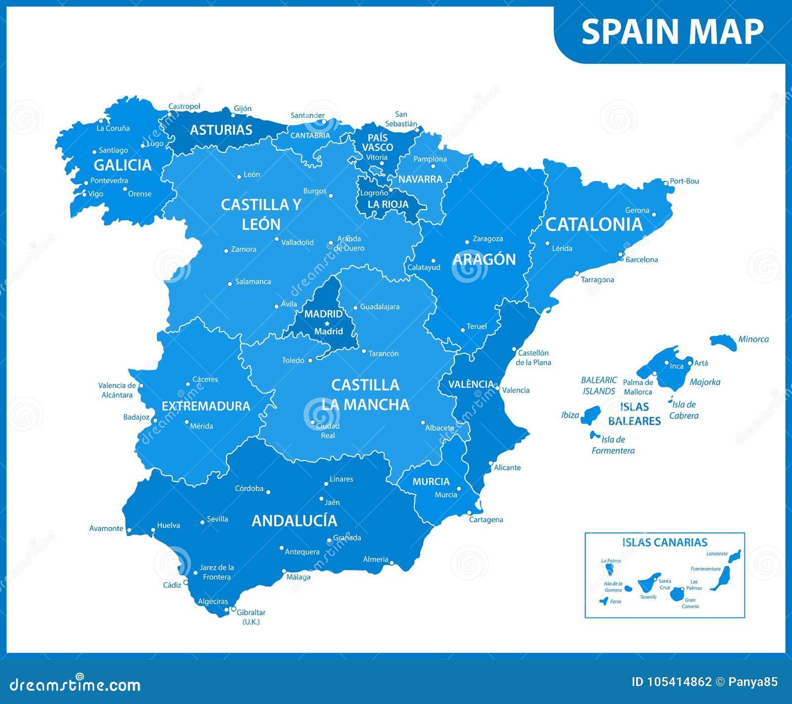 O mapa detalhado da Espanha com regiões ou estados e cidades, capitais