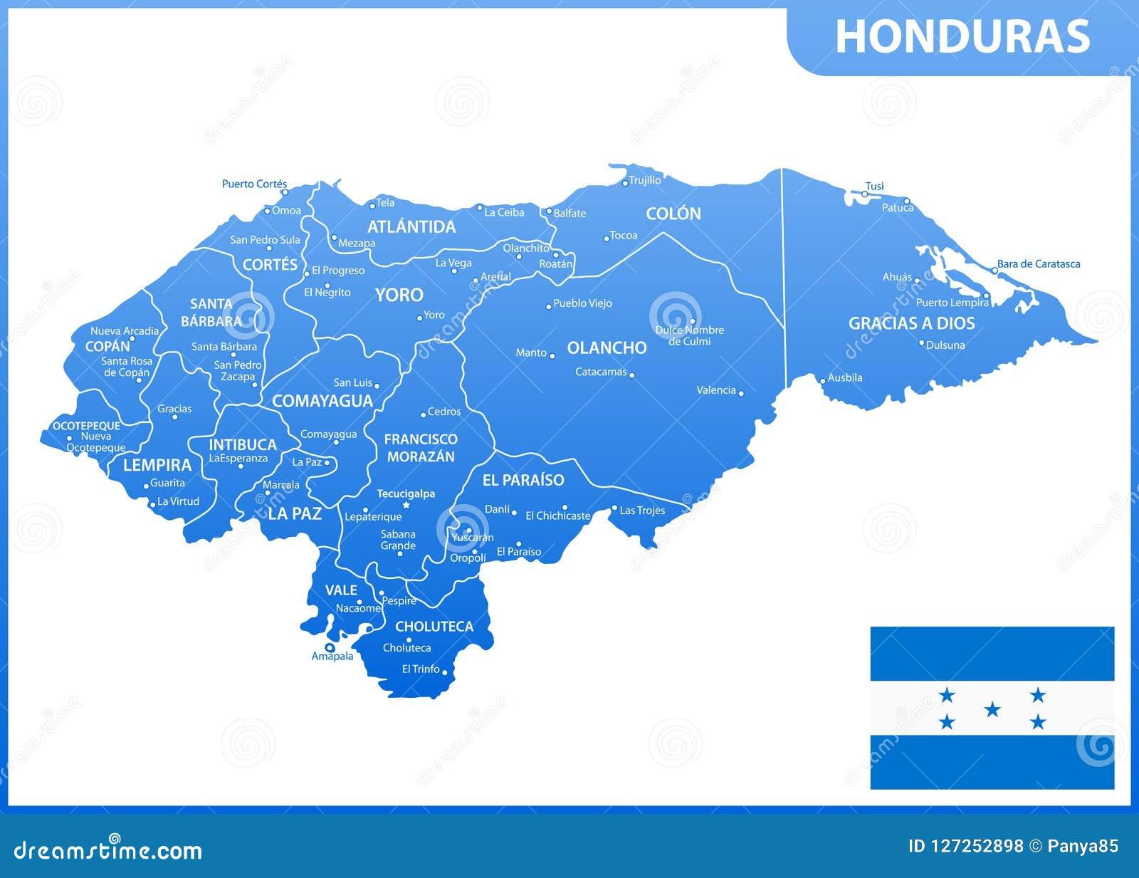 O Mapa Detalhado Das Honduras Com Regioes Ou Estados E Cidades