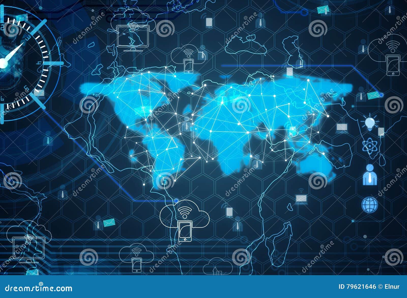 O mapa do mundo com tema social da rede