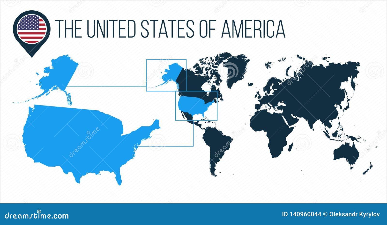 O mapa dos EUA do Estados Unidos da América situado em um mapa do mundo com bandeira e ponteiro ou pino do mapa Mapa de Infograph