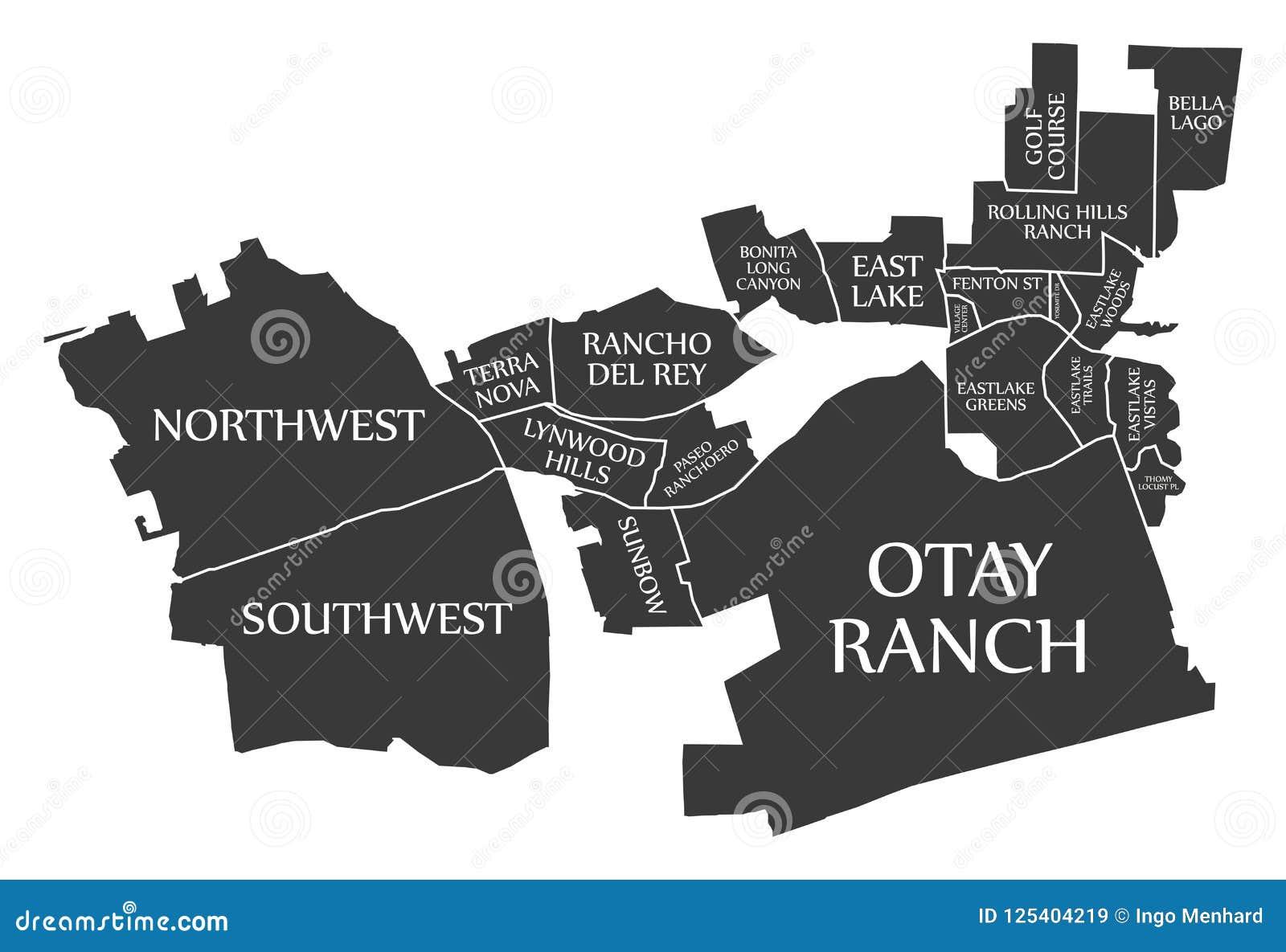 O mapa EUA da cidade de Chula Vista Califórnia etiquetou a ilustração preta