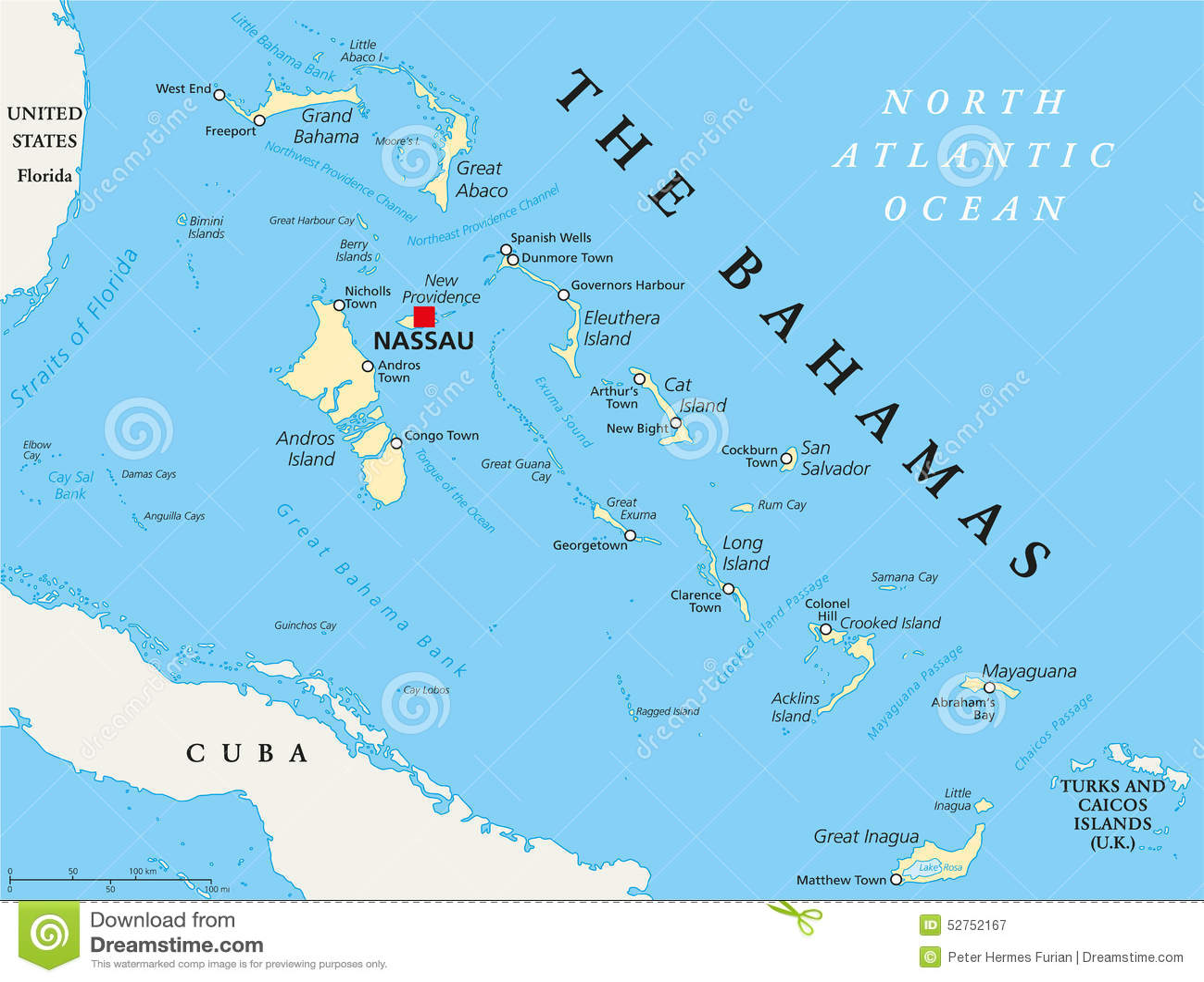 O mapa político do Bahamas