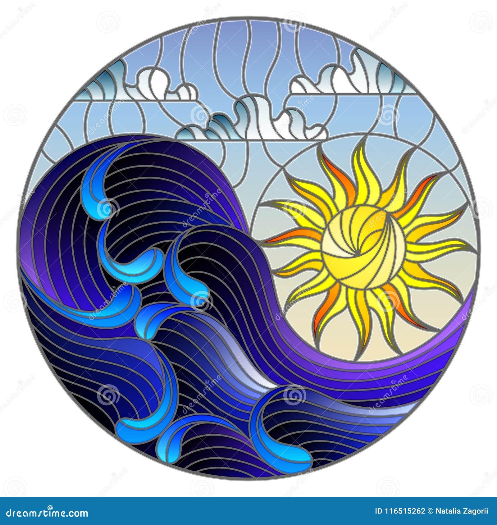 O mar da paisagem do sumário da ilustração do vitral acena no fundo do céu e de nuvens ensolarados, ilustração redonda