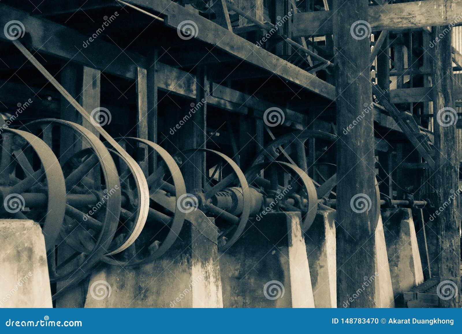 O mecanismo velho no moinho