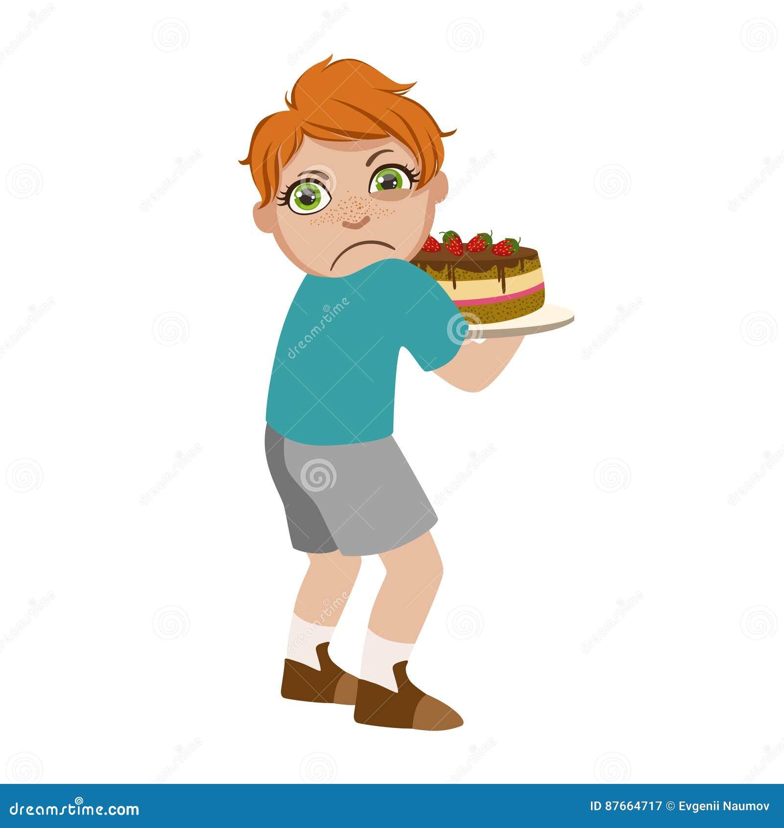 O menino ávido que não compartilha do bolo, parte do mau caçoa o comportamento e tiraniza a série de ilustrações do vetor com os