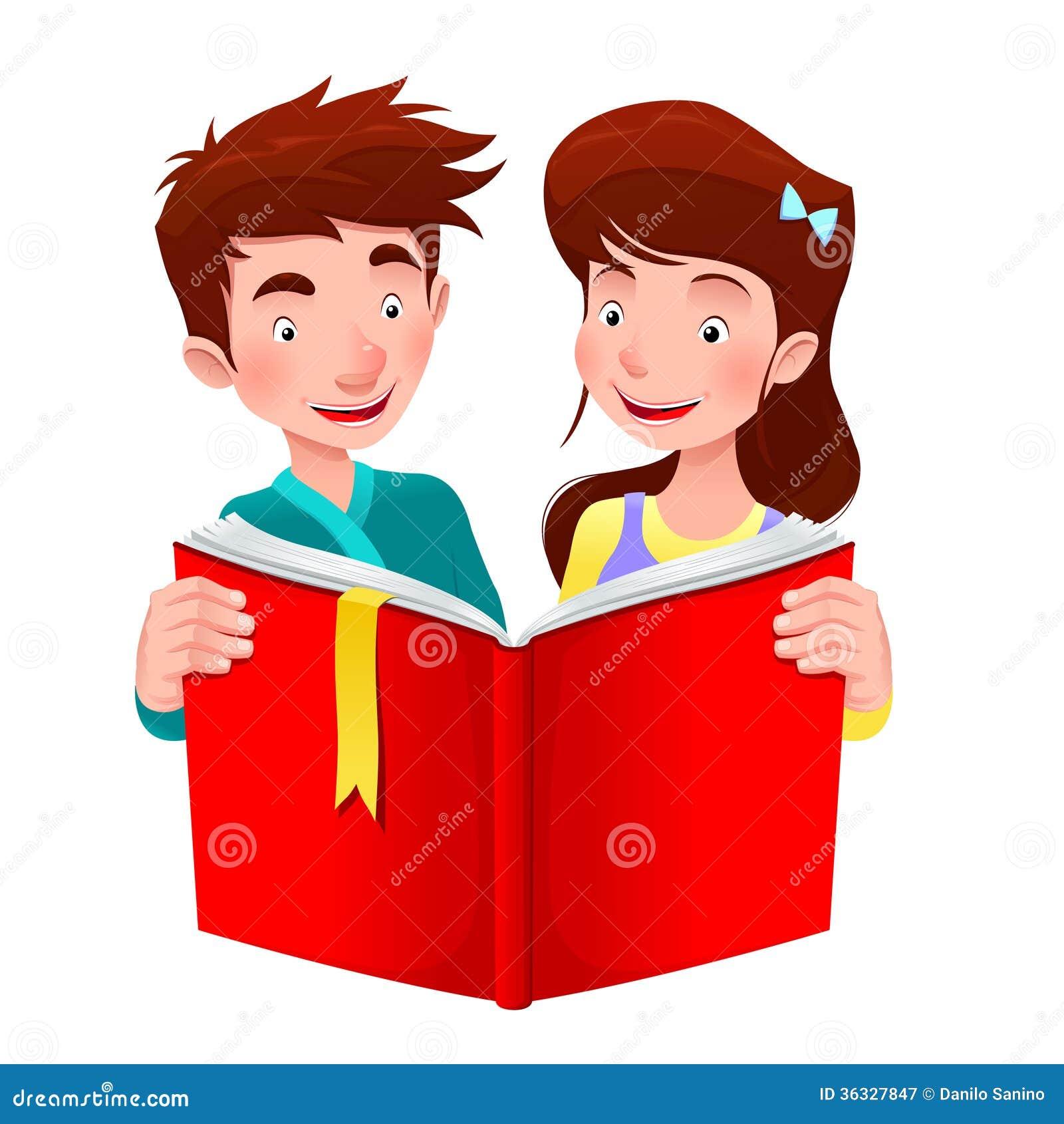 O Menino E A Menina Estao Lendo Um Livro Ilustracao Do Vetor