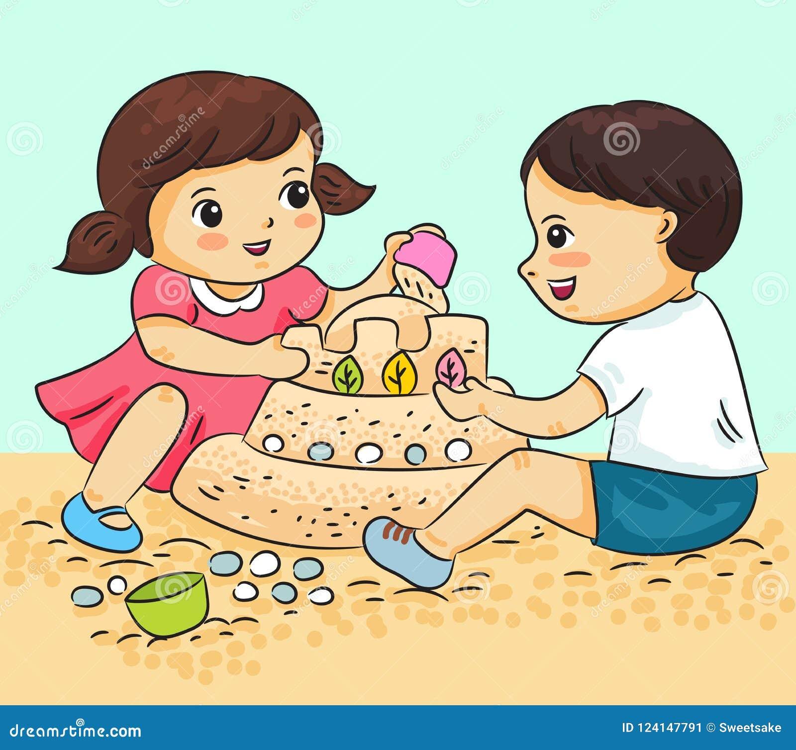 O menino e a menina que jogam com areia vector a ilustração