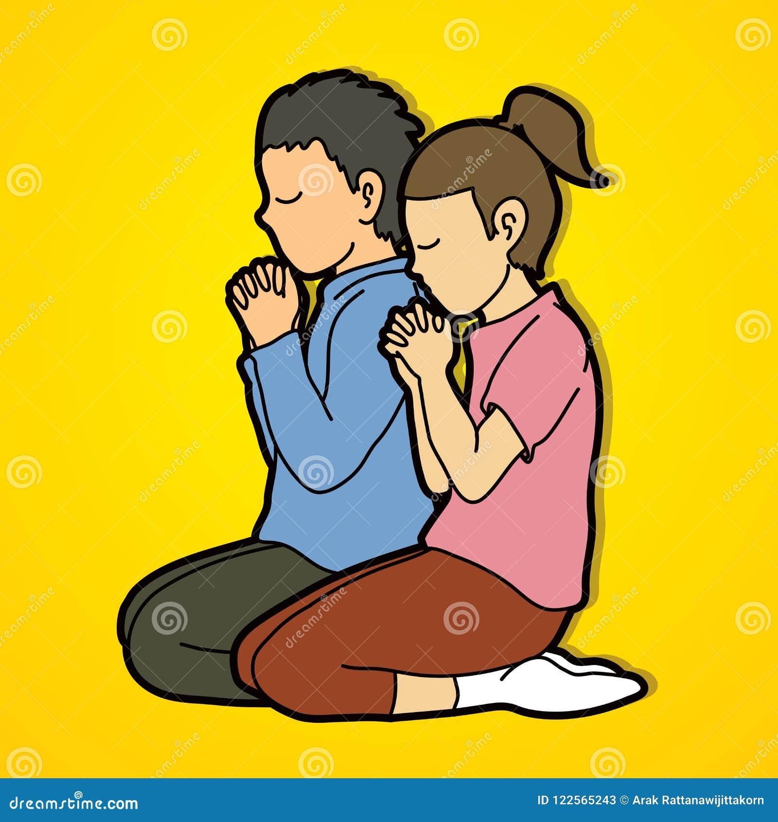 O Menino E A Menina Rezam Junto Oracao Criancas Rezando Do