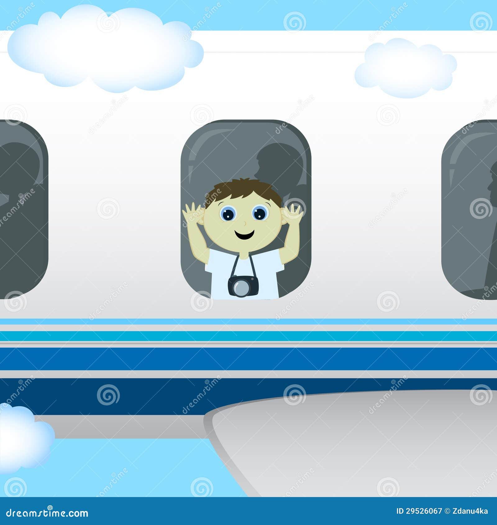 O menino está voando em um plano