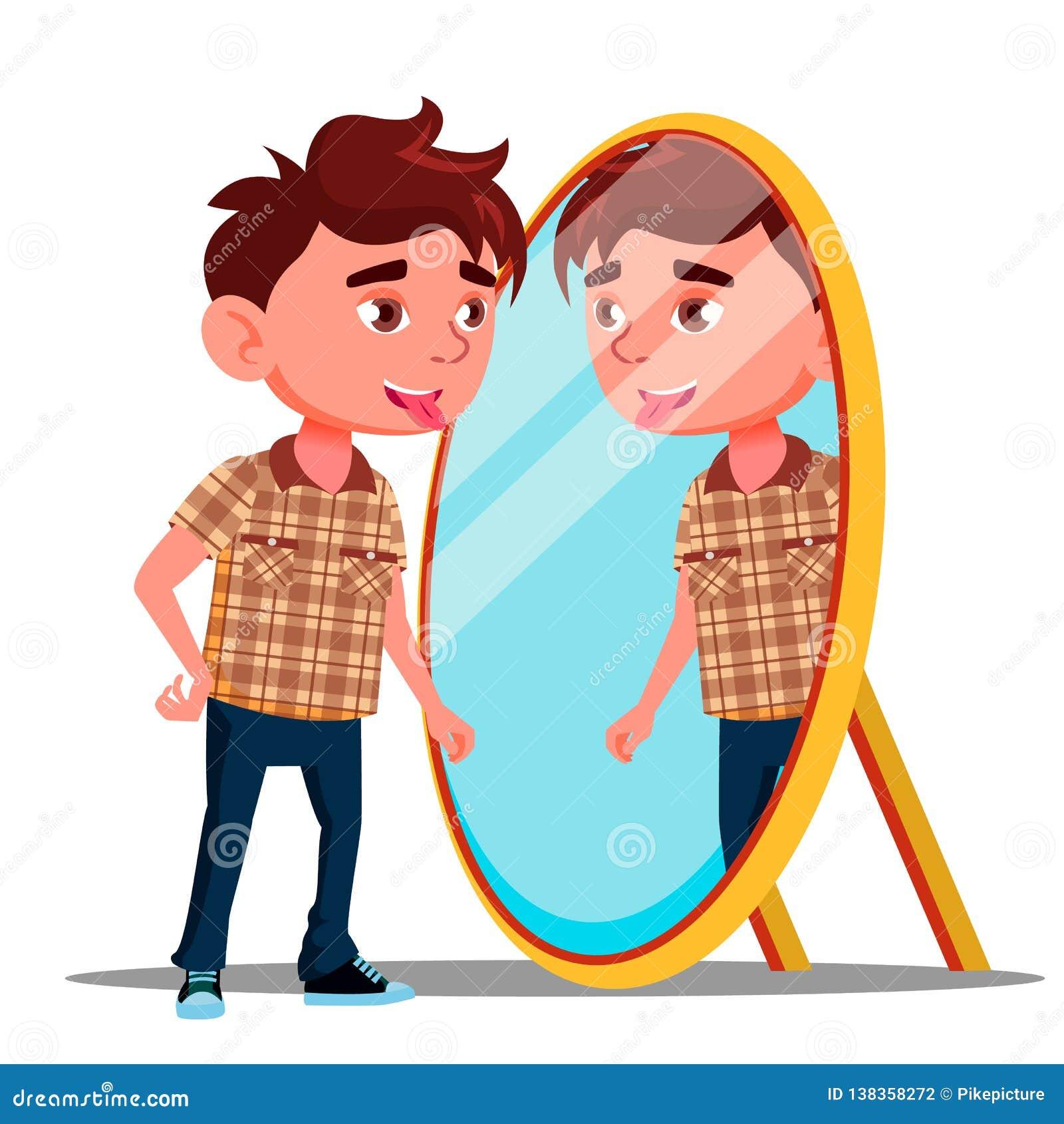 O menino mostra a língua em sua reflexão no vetor do espelho Ilustração isolada