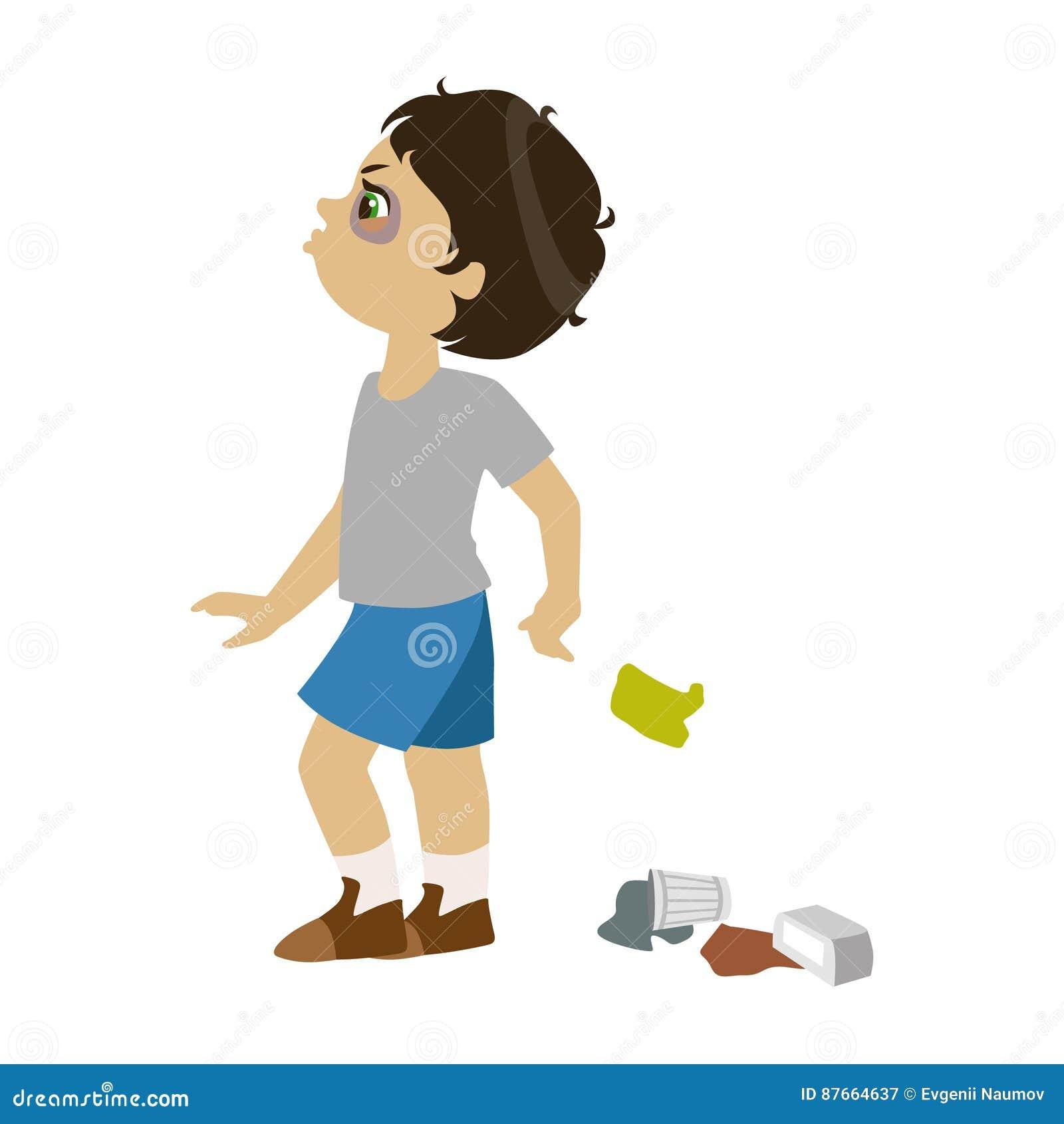 O menino que desarruma, parte do mau caçoa o comportamento e tiraniza a série de ilustrações do vetor com os caráteres que são ru