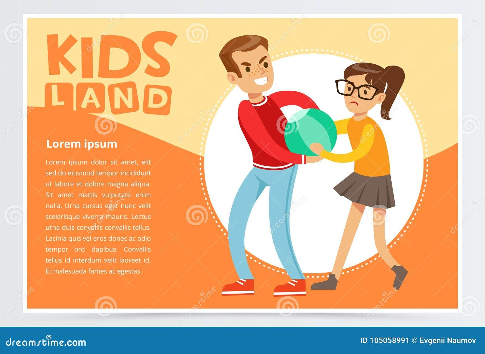 O menino que tiraniza uma menina, crianças adolescentes que discutem, comportamento agressivo, crianças aterra o elemento liso do