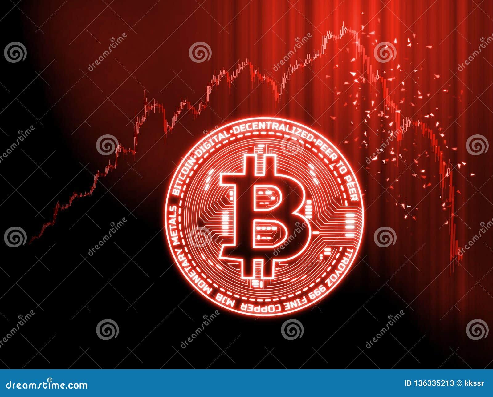 O mercado de moedas cripto vai abaixo do conceito Bitcoin de incandescência BTC em cartas vermelhas da vara da vela com fundo ext