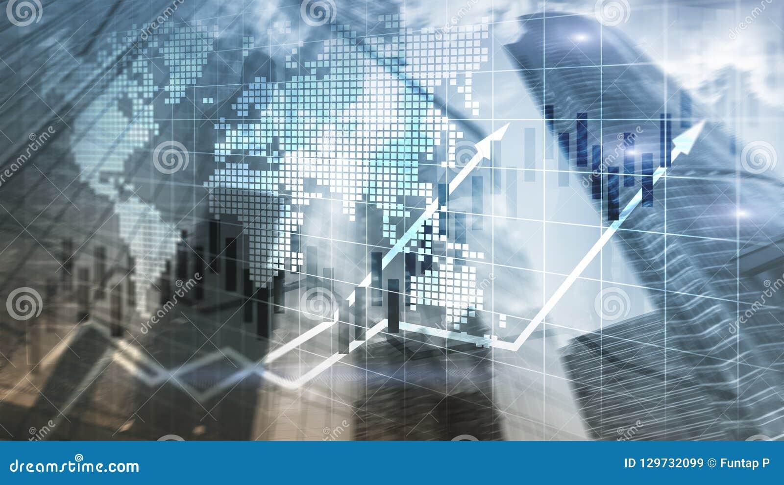 O mercado de valores de ação financeiro representa graficamente o conceito de ROI Return On Investment Business da carta da vela