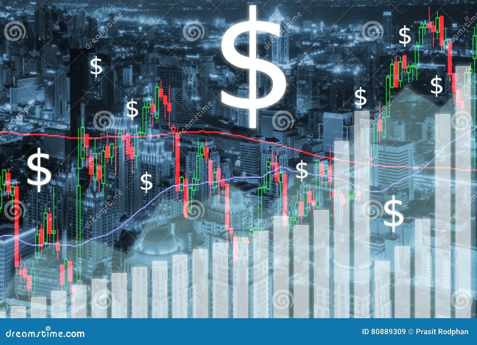 O mercado de valores de ação de troca representa graficamente e barra na cidade na noite Negócio fi