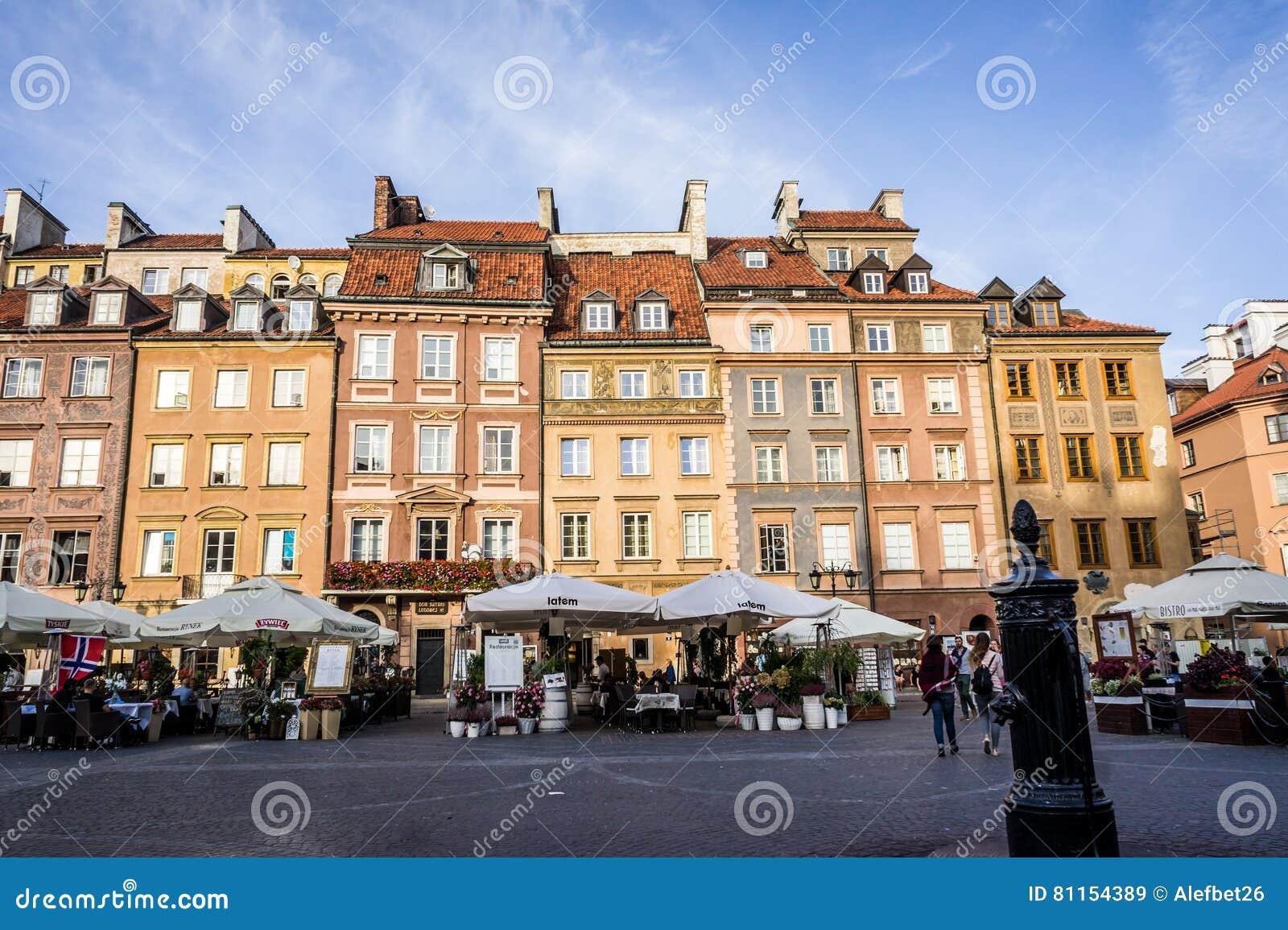 O mercado velho da cidade em Varsóvia