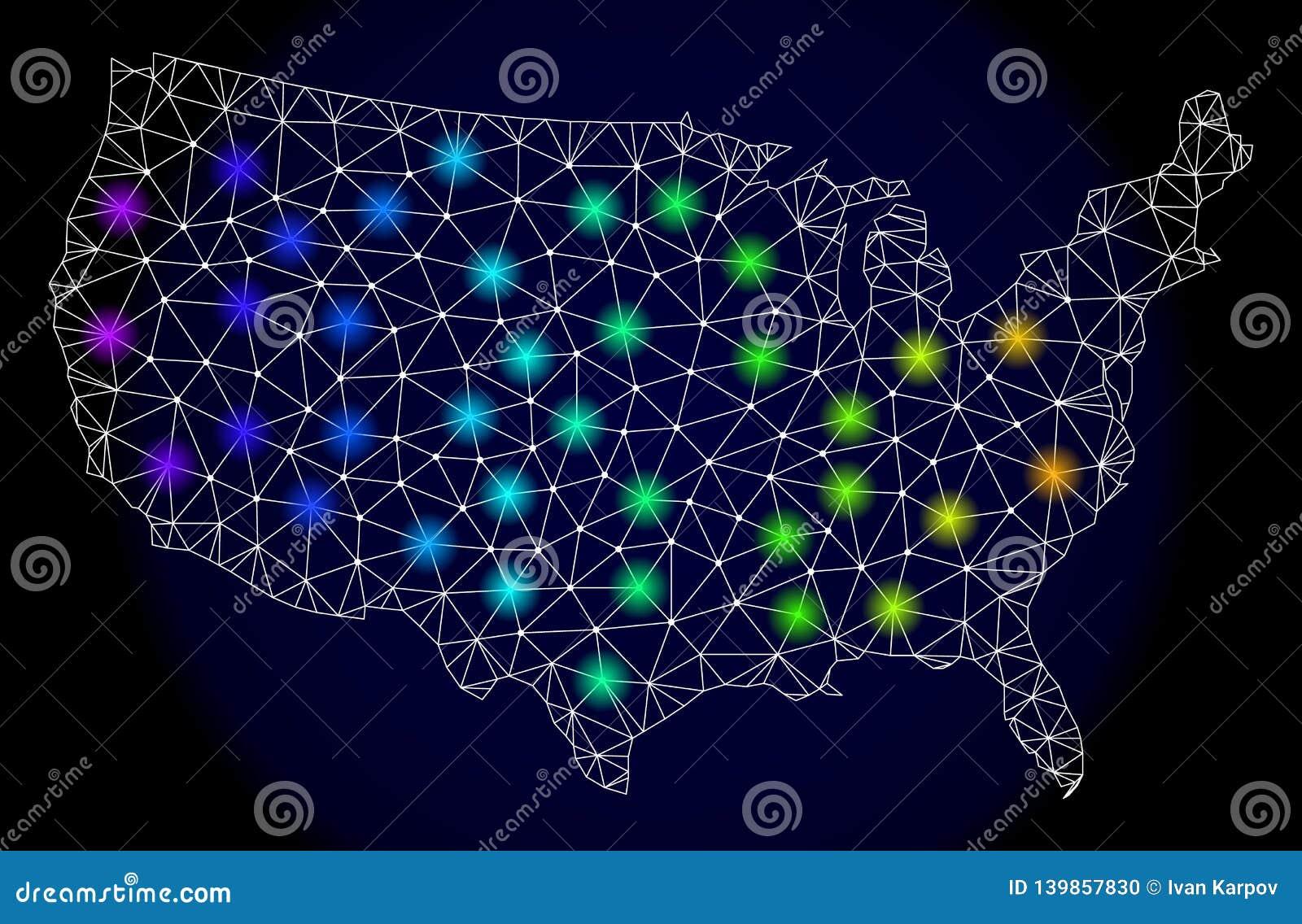 2.o Mesh Map poligonal de Estados Unidos con los puntos ligeros brillantes