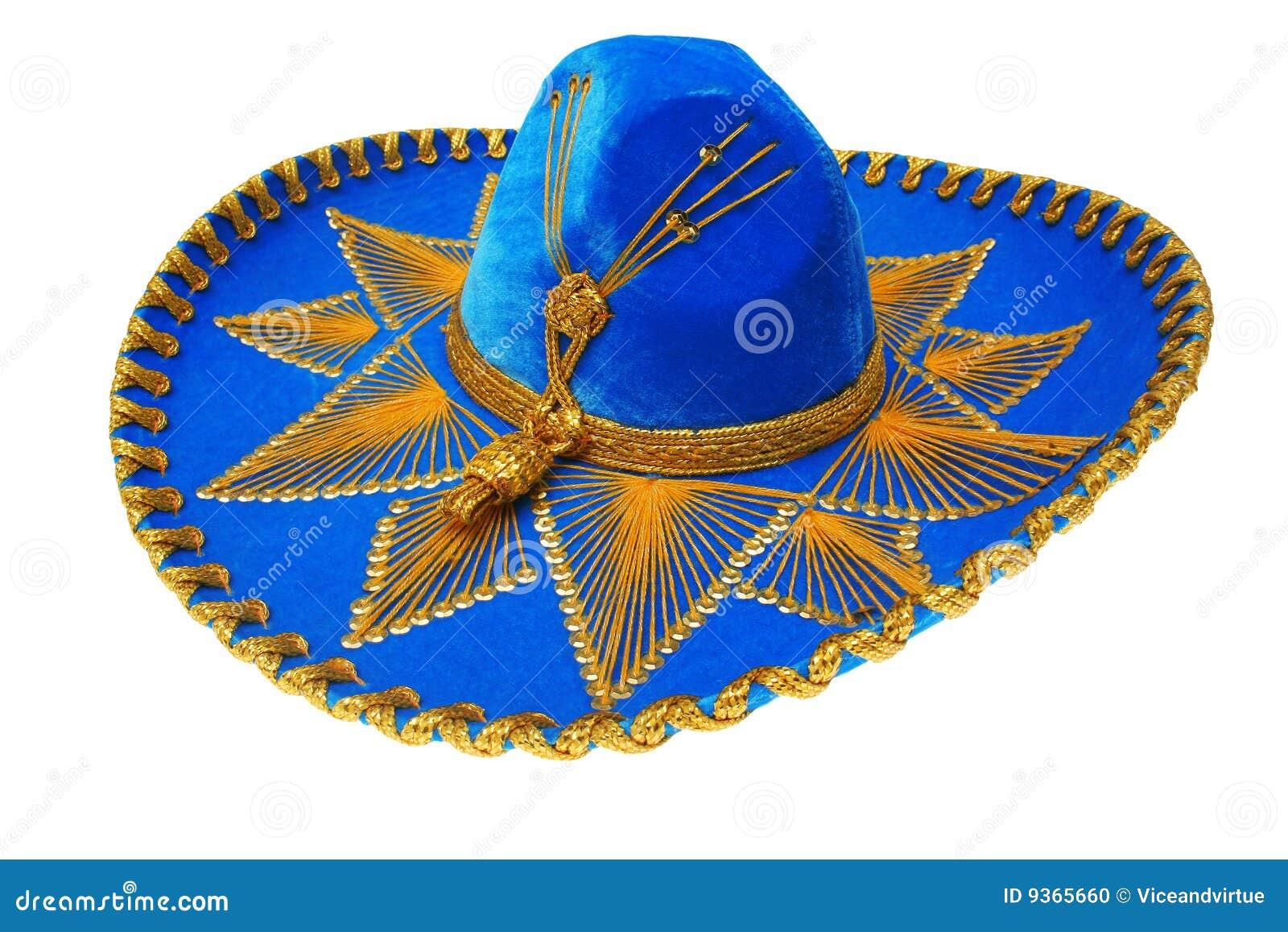 O mexicano azul agradável do sombrero isolou-se