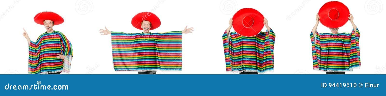 O mexicano novo engraçado com o bigode falso isolado no branco