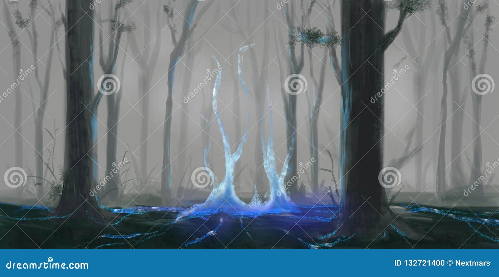 O mistério Forest Fiction Backdrop Arte do conceito Ilustração realística