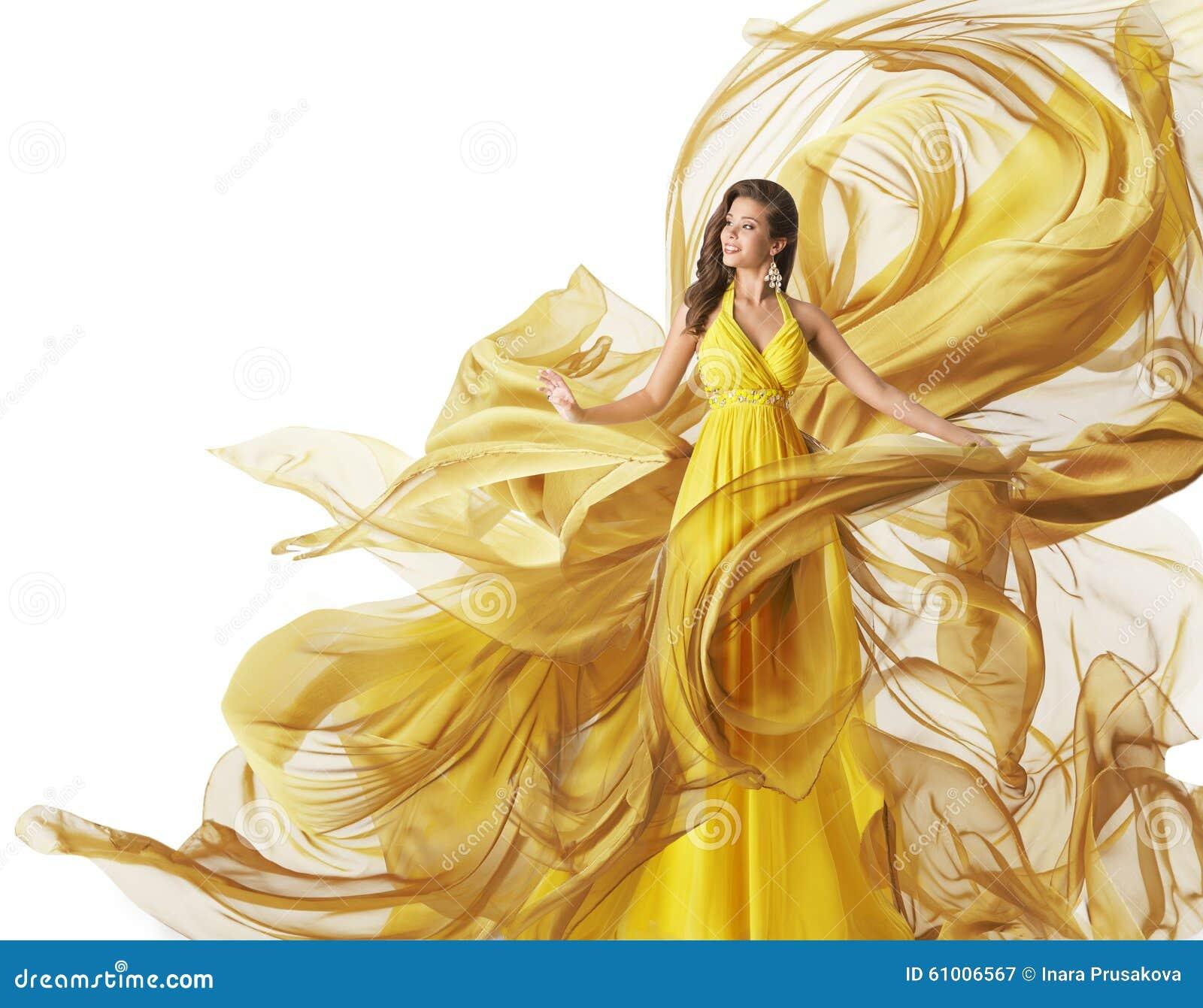 O modelo de forma Dress, vestido de fluxo da tela da mulher, veste o branco