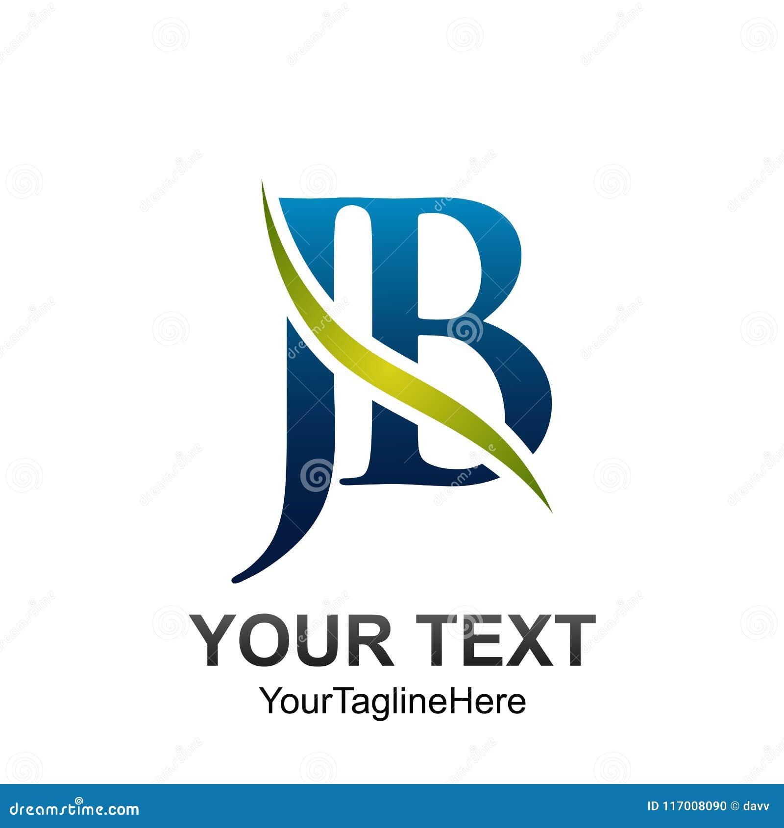 O molde do logotipo da letra inicial JB coloriu o swoosh azul verde d da onda