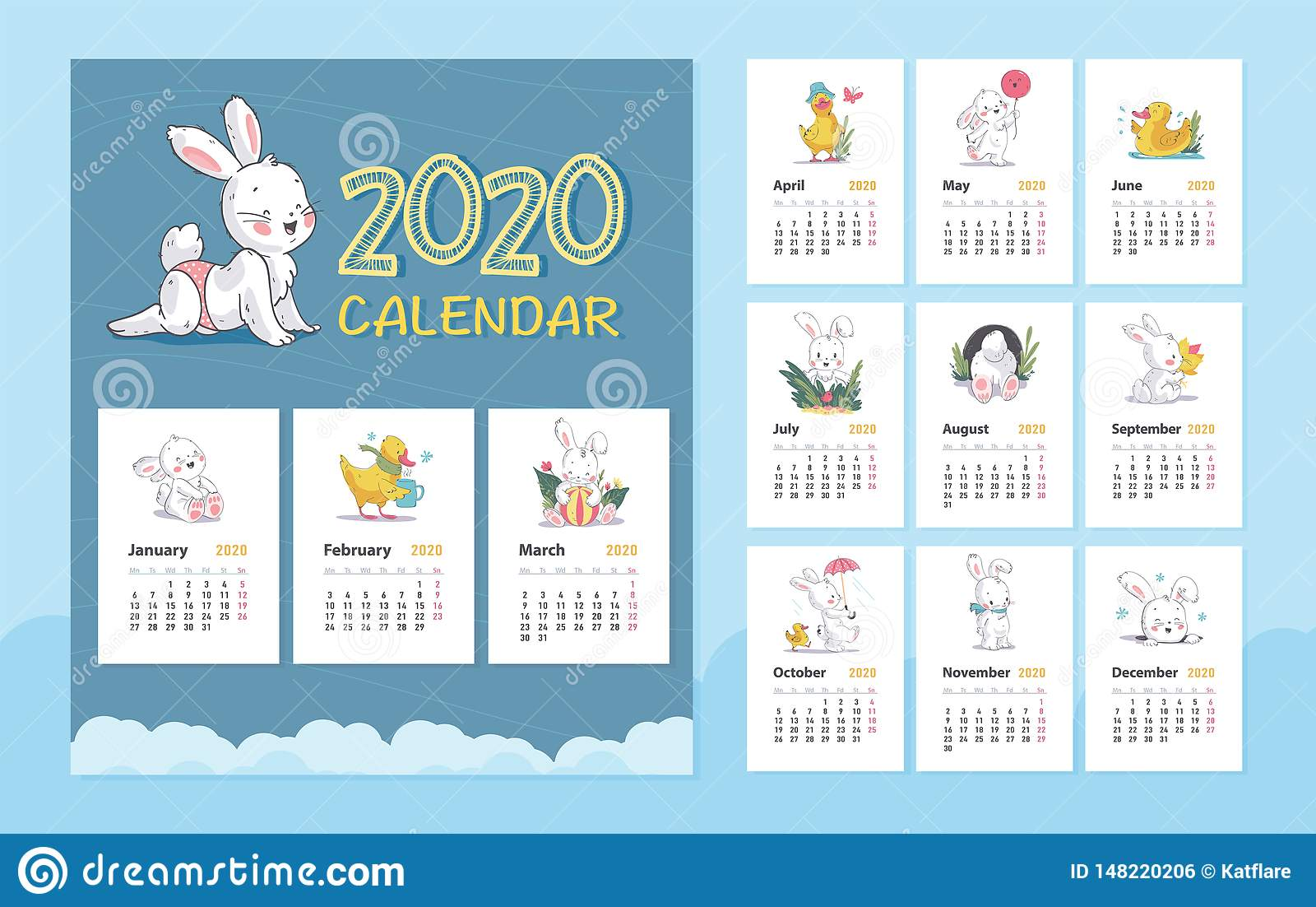 Vector 2020 Baby Calendar Design Template With Cute White Bunny Animal Character Little Yellow Duck Walk Stand Sit Ilustração Do Vetor Ilustração De Yellow 2020 148220206
