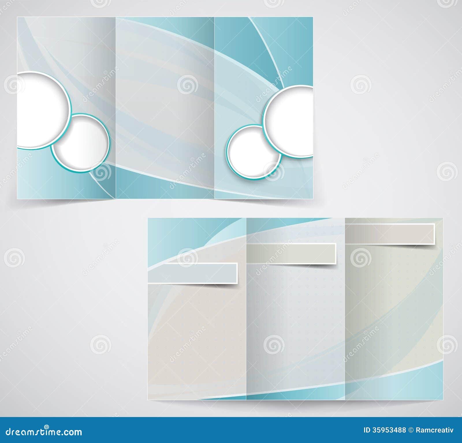 O molde dobrável em três partes do folheto do negócio, vector d azul