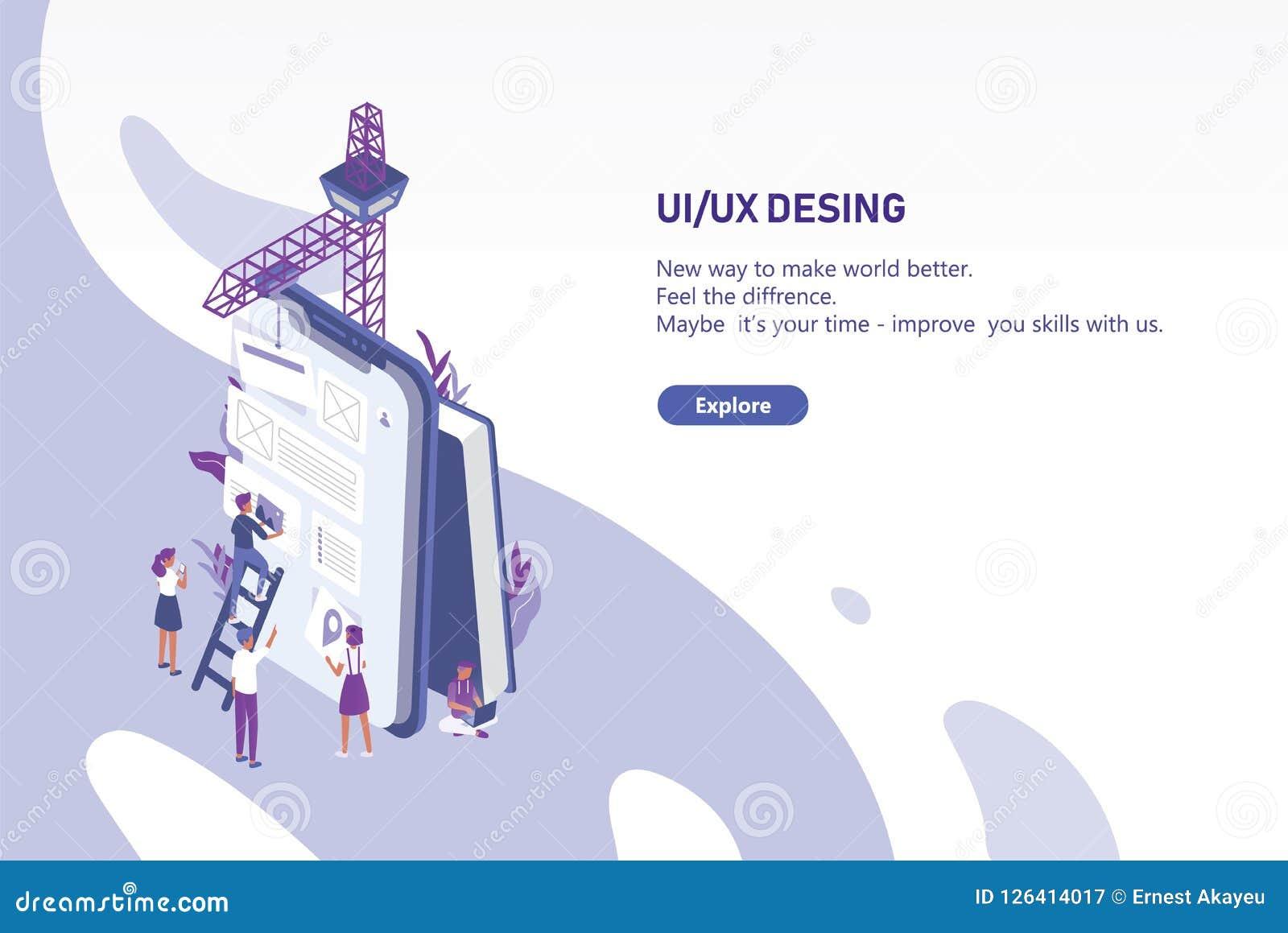 O molde horizontal da bandeira da Web com grupo de povos minúsculos que criam a aplicação projeta no PC gigante da tabuleta Inter