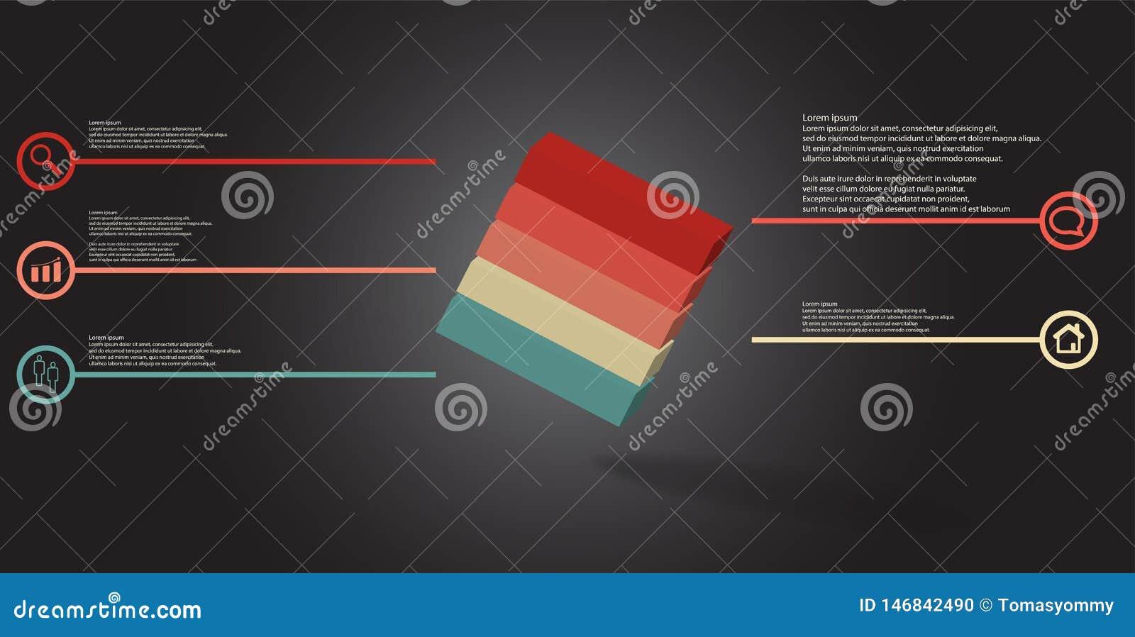 O molde infographic da ilustração 3D com cubo gravado arranjou obliquamente dividido a cinco porções