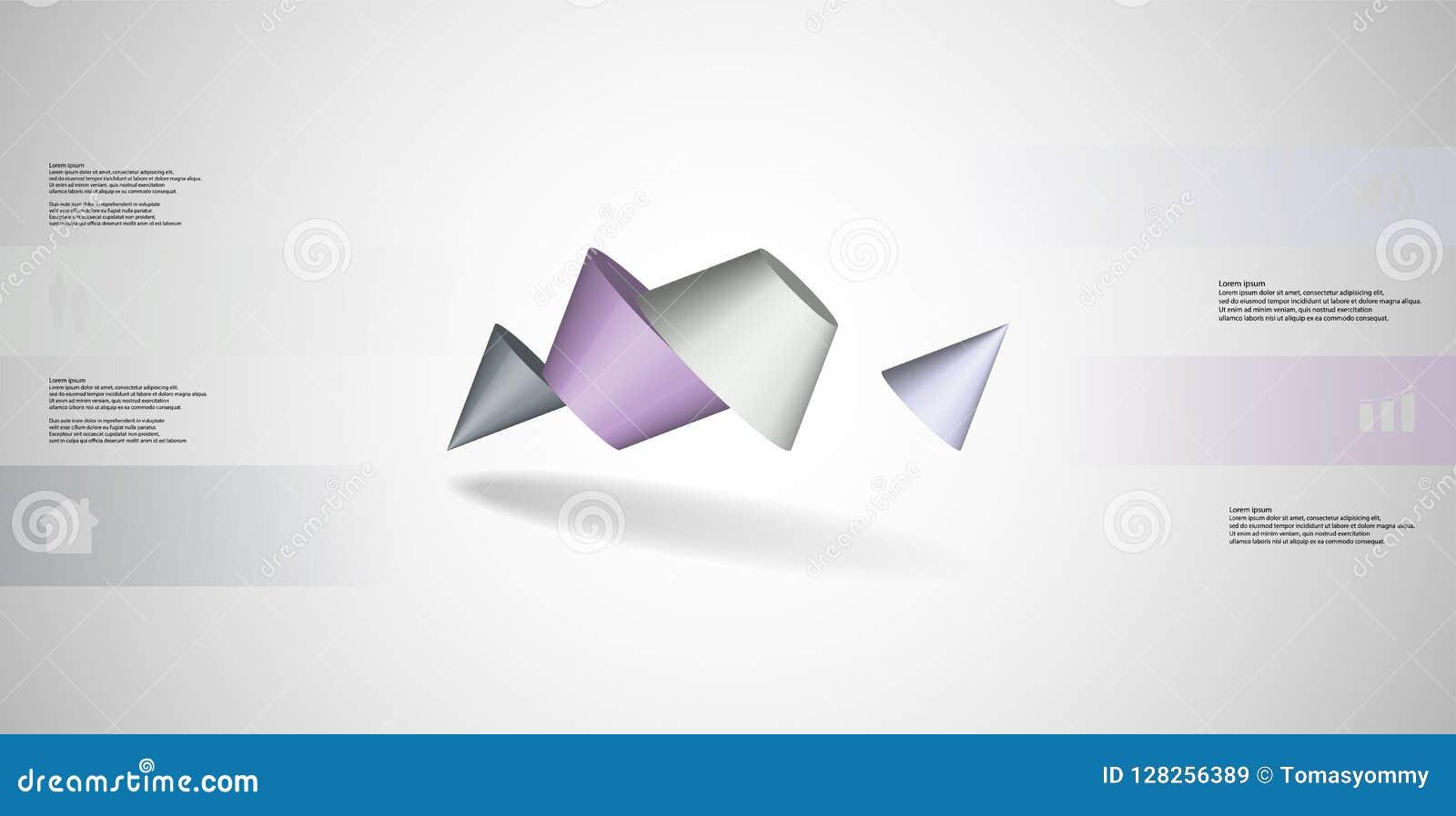 O molde infographic da ilustração 3D com dois cravou o cone dividido a quatro porções e arranjado obliquamente