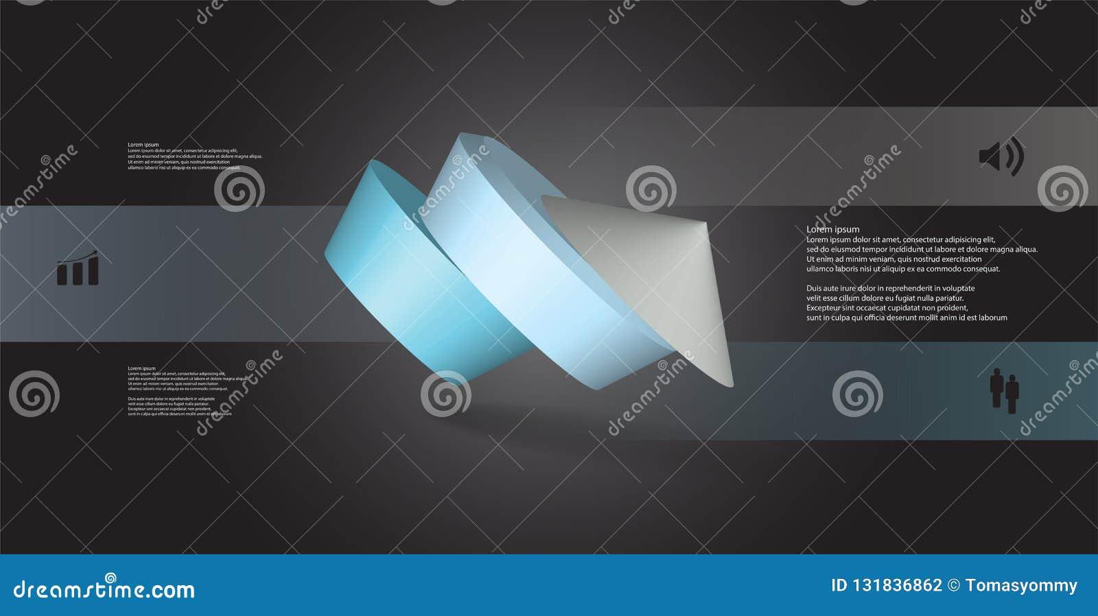 O molde infographic da ilustração 3D com pentagon redondo arranjou obliquamente