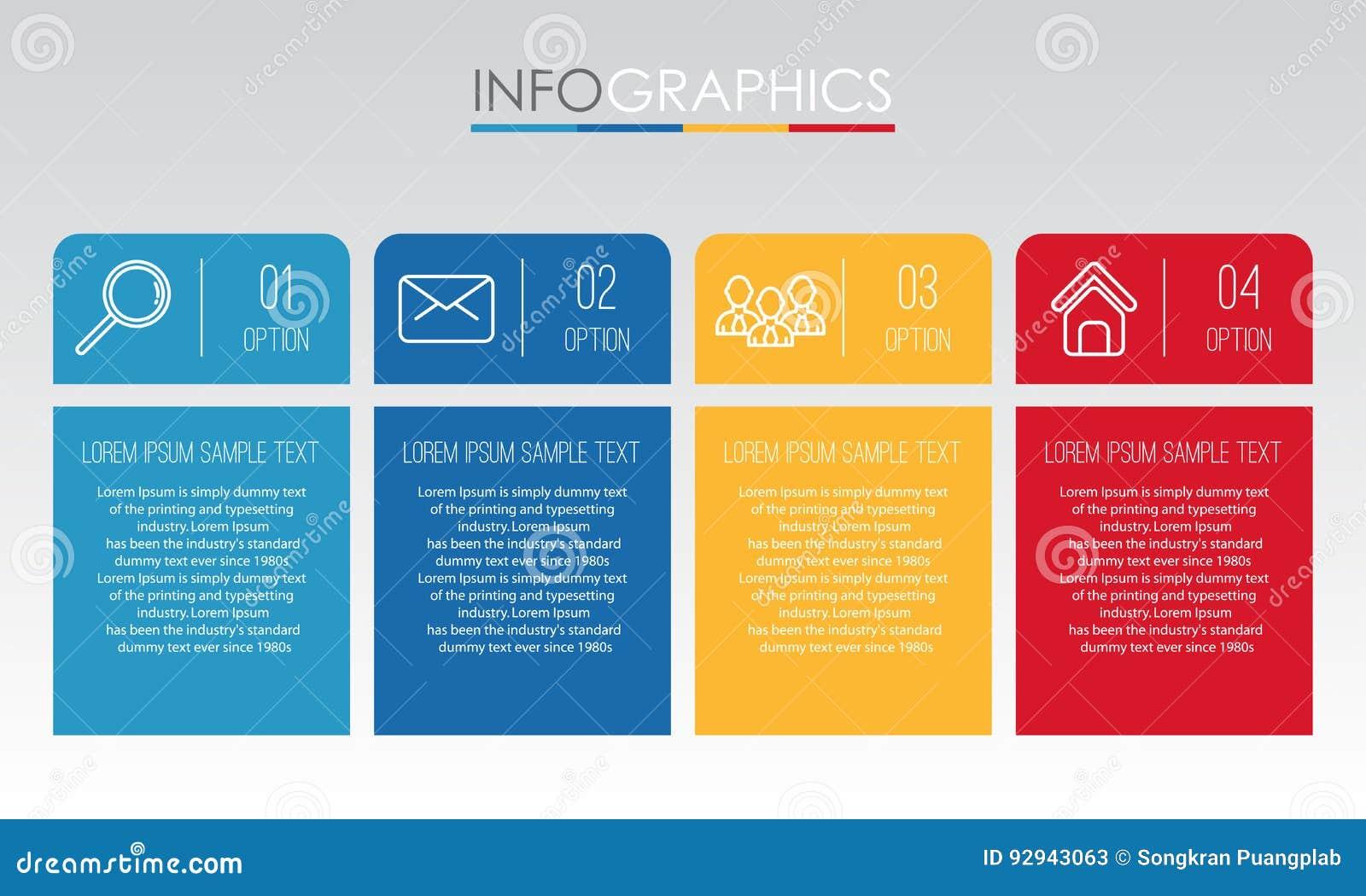 O molde moderno do Informação-gráfico para o negócio com projeto da multi-cor de quatro etapas, etiquetas projeta, elemento do in