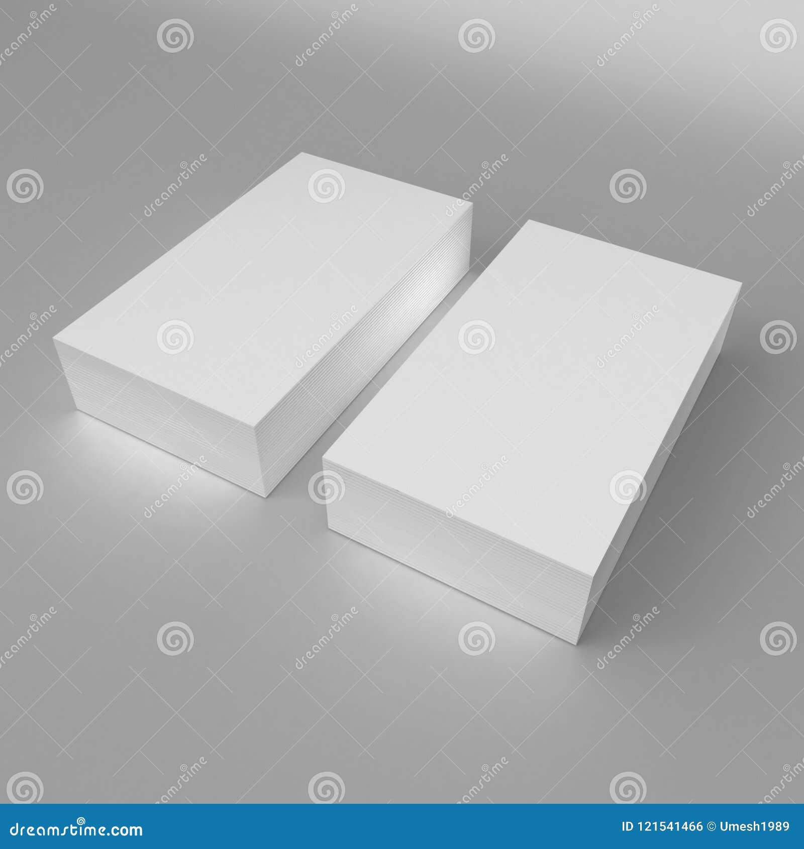 O molde vazio 3d do cartão de visita do branco 3d torna a ilustração para a zombaria ascendente e projeta a apresentação