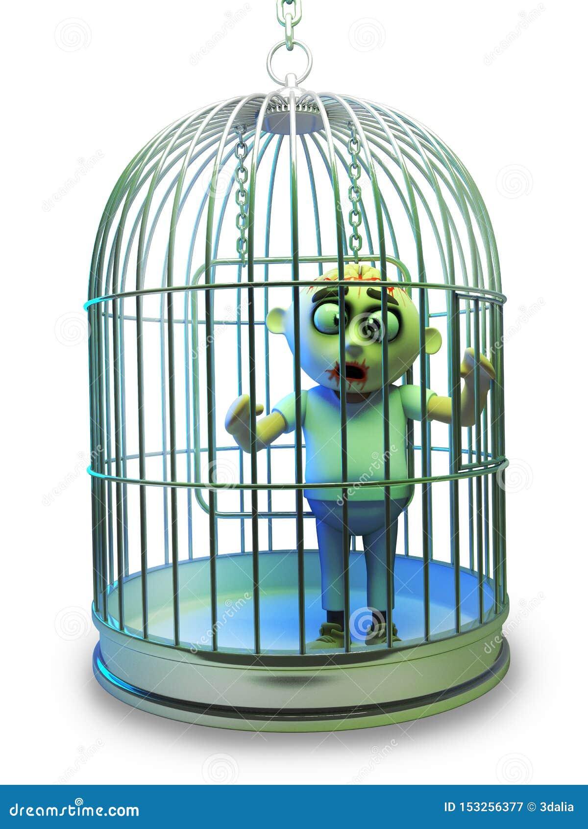 O monstro pobre do zombi de Dia das Bruxas foi prendido em uma gaiola de pássaro, ilustração 3d