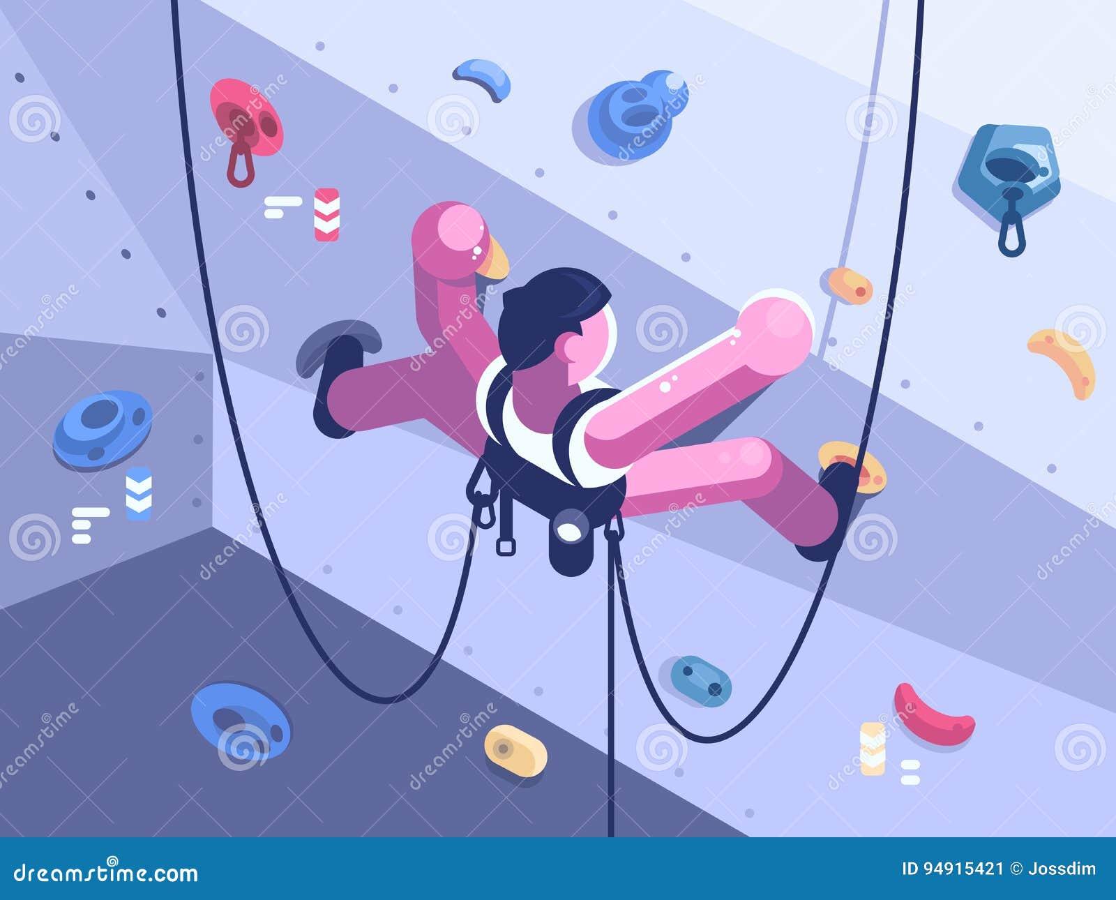 O montanhista do homem escala a rota difícil